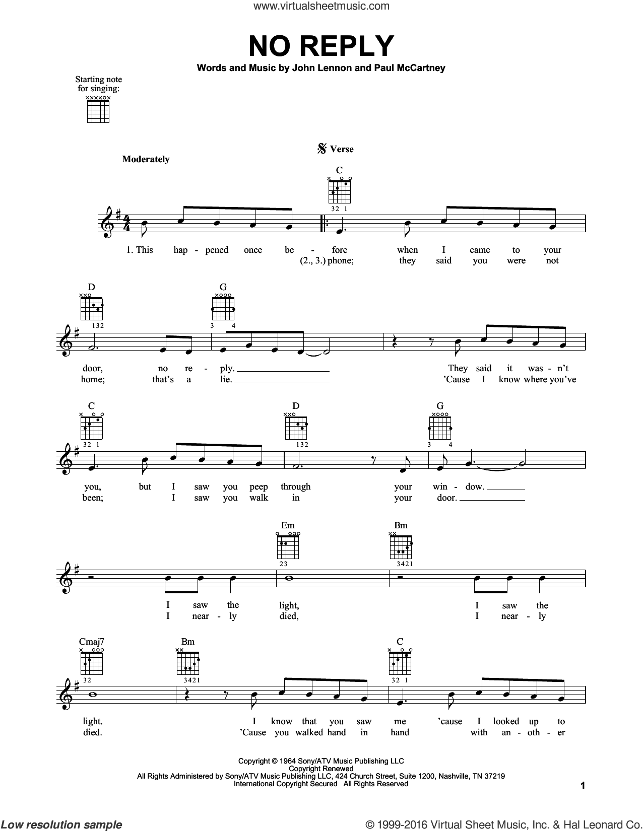No Reply sheet music for guitar solo (chords) by The Beatles, John Lennon and Paul McCartney, easy guitar (chords)