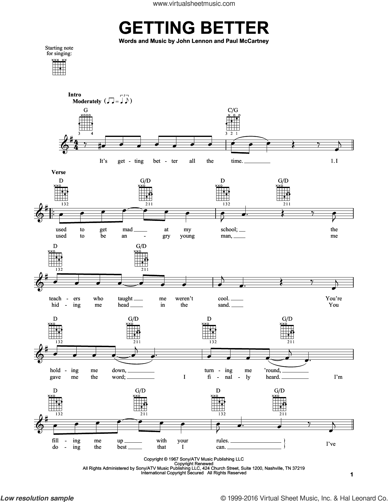 Getting Better sheet music for guitar solo (chords) by The Beatles, John Lennon and Paul McCartney, easy guitar (chords)