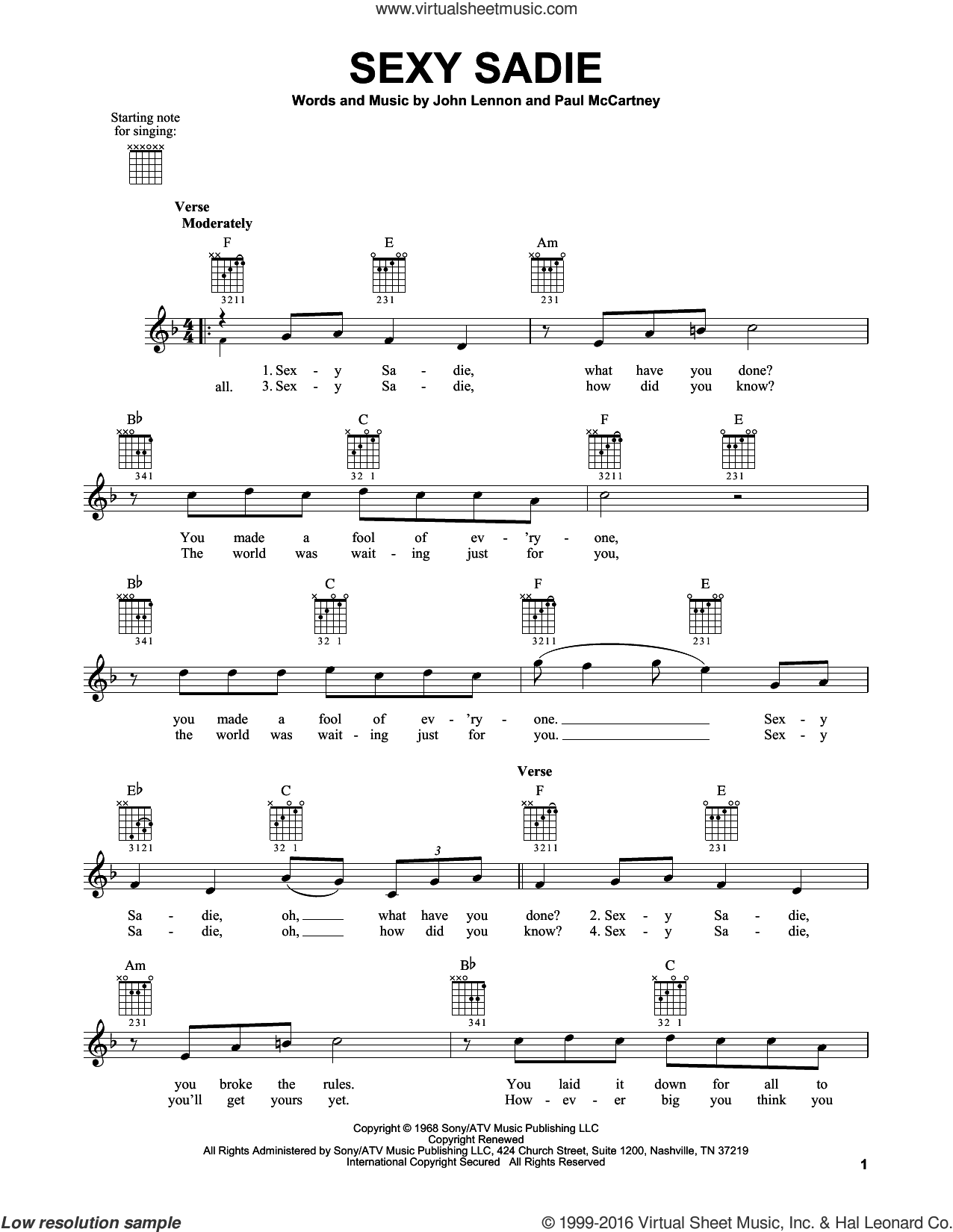 Sexy Sadie sheet music for guitar solo (chords) by The Beatles, John Lennon and Paul McCartney, easy guitar (chords). Score Image Preview.