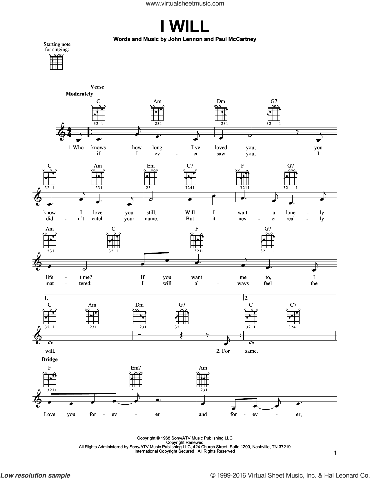 I Will sheet music for guitar solo (chords) by Paul McCartney, The Beatles and John Lennon. Score Image Preview.
