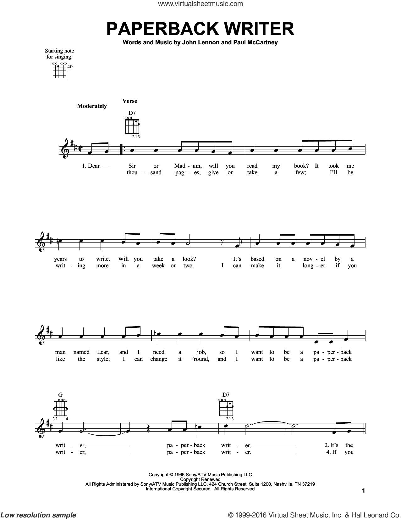 Paperback Writer sheet music for guitar solo (chords) by Paul McCartney