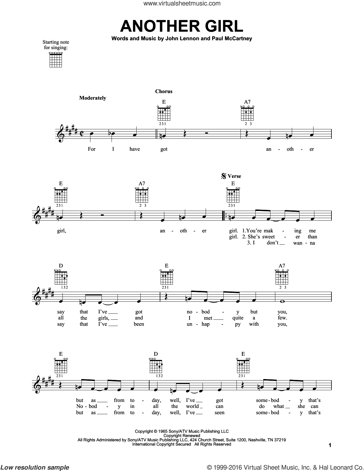 Another Girl sheet music for guitar solo (chords) by Paul McCartney, The Beatles and John Lennon. Score Image Preview.