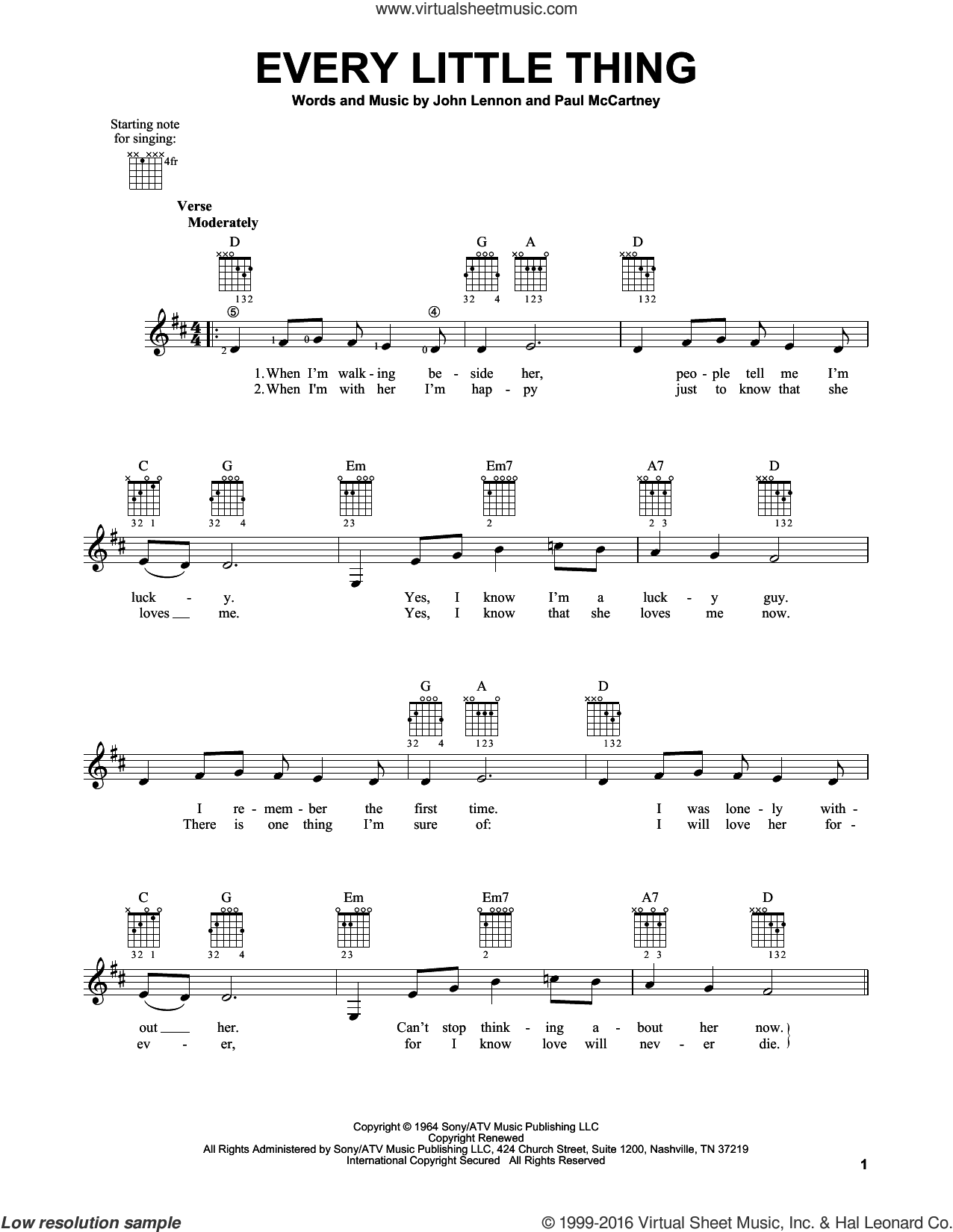 Every Little Thing sheet music for guitar solo (chords) by Paul McCartney, The Beatles and John Lennon. Score Image Preview.
