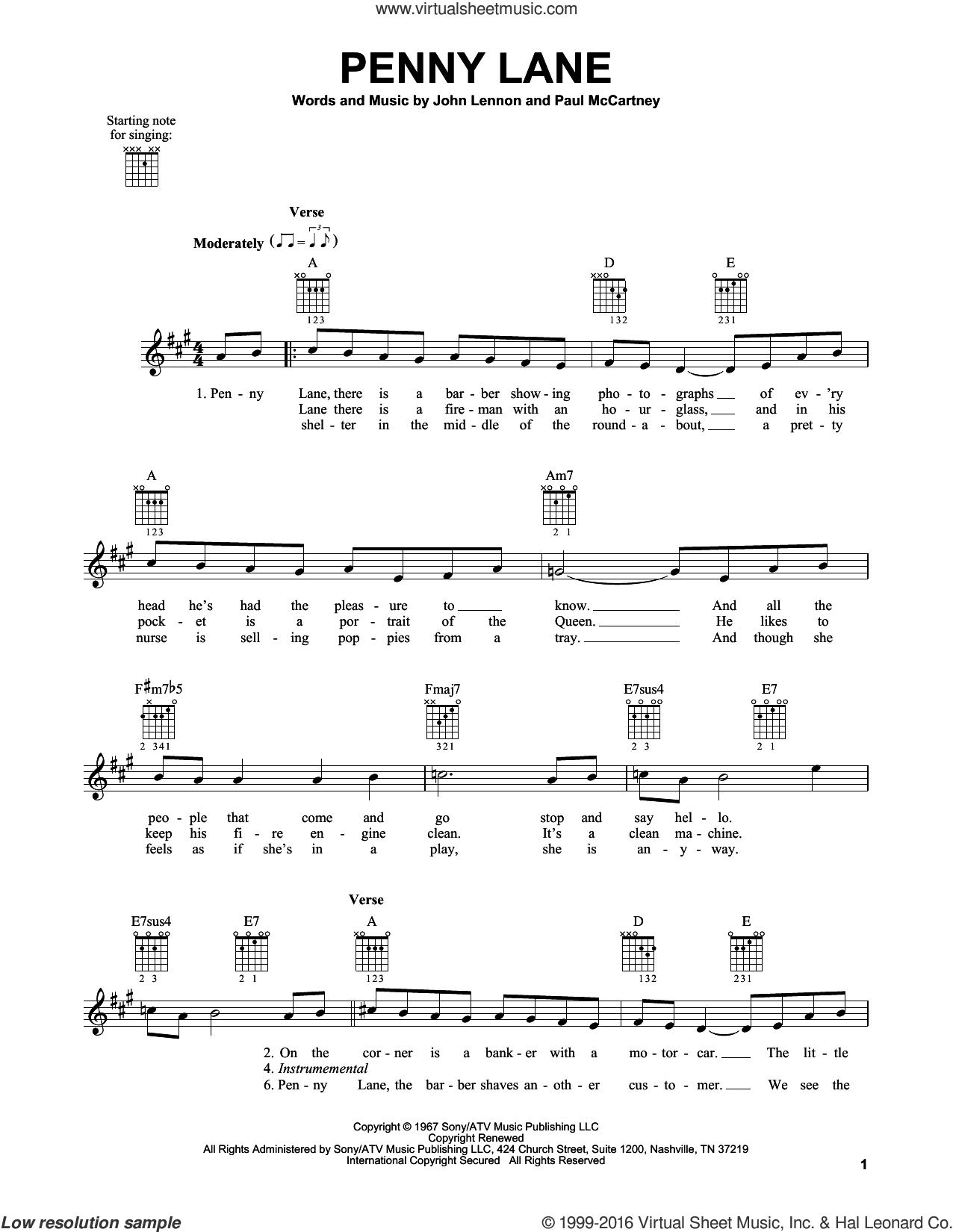 Penny Lane sheet music for guitar solo (chords) by The Beatles, John Lennon and Paul McCartney, easy guitar (chords)