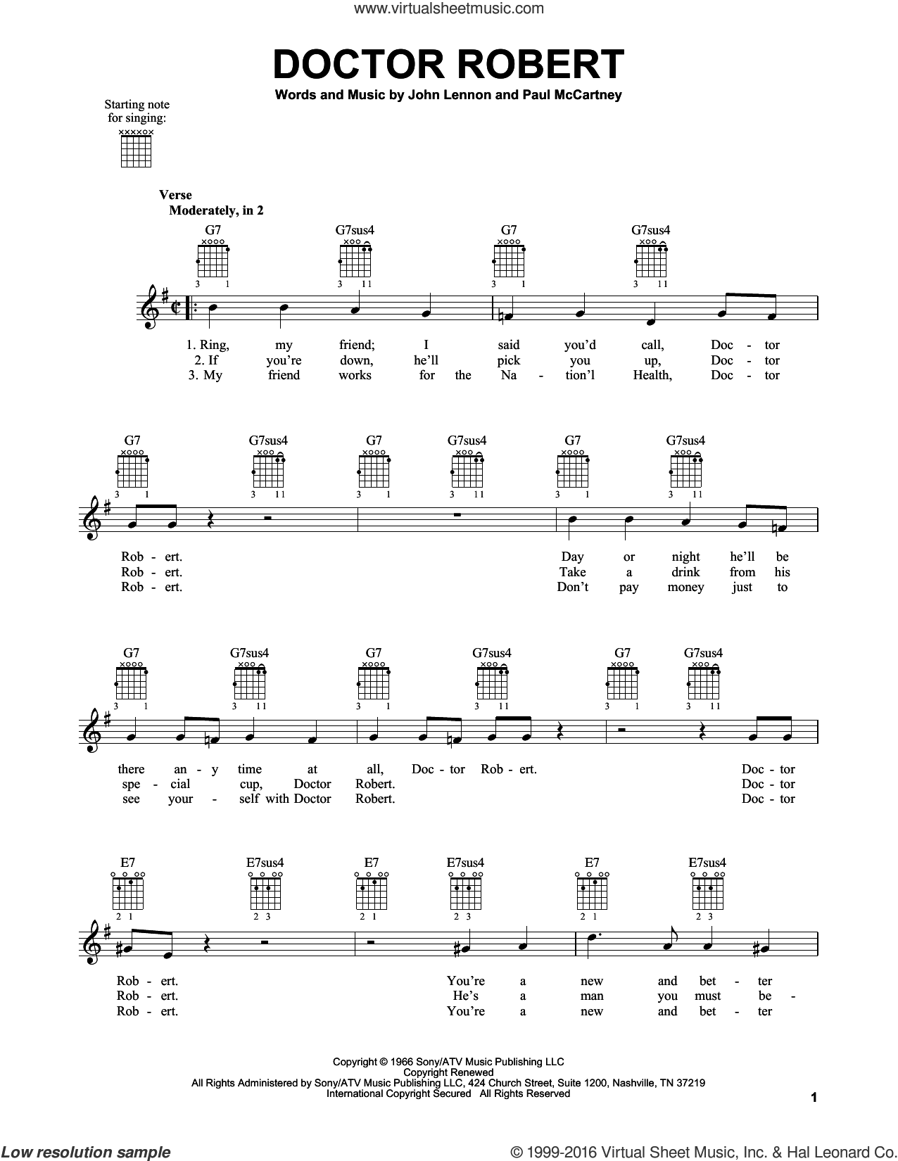 Doctor Robert sheet music for guitar solo (chords) by The Beatles, John Lennon and Paul McCartney, easy guitar (chords)