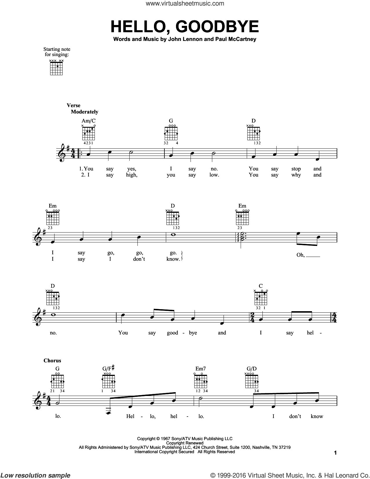 Hello, Goodbye sheet music for guitar solo (chords) by The Beatles, John Lennon and Paul McCartney, easy guitar (chords)