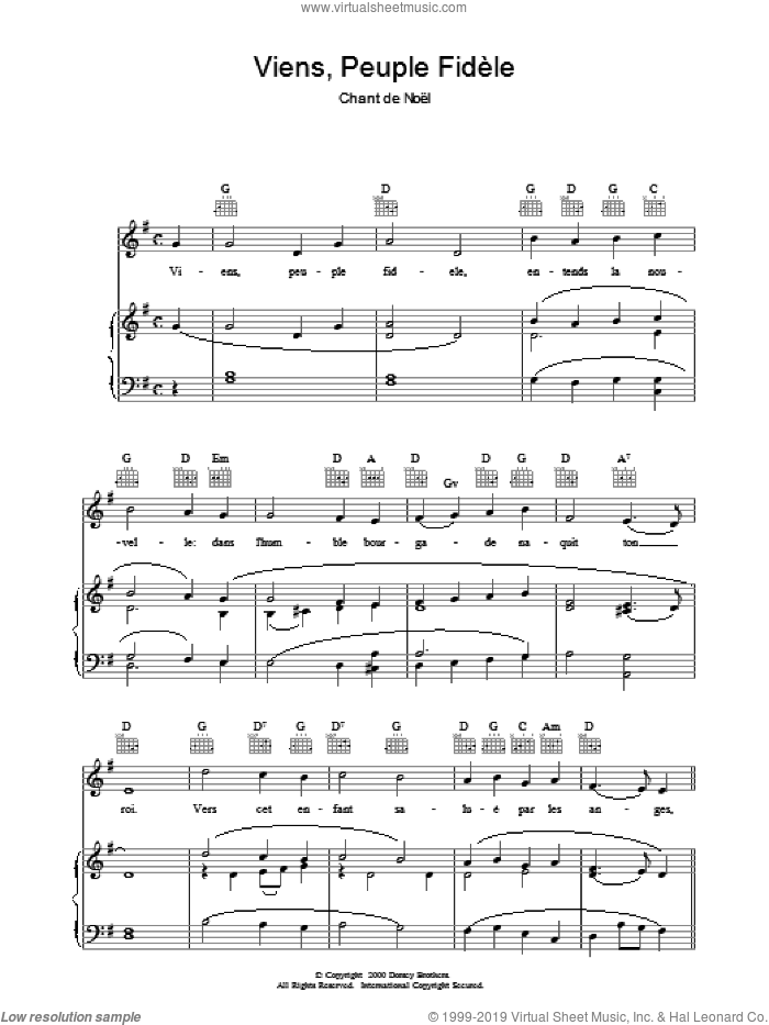 Viens, Peuple Fidele sheet music for voice, piano or guitar  and Chant De Noel, intermediate. Score Image Preview.