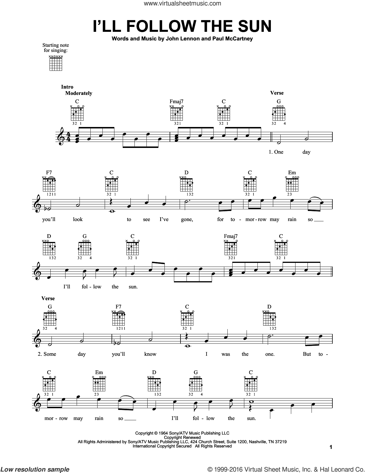 I'll Follow The Sun sheet music for guitar solo (chords) by The Beatles, John Lennon and Paul McCartney, easy guitar (chords). Score Image Preview.