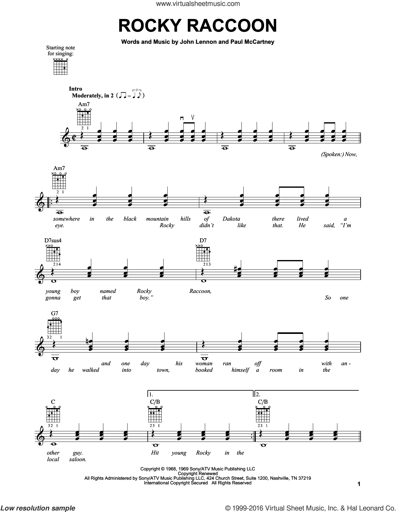Rocky Raccoon sheet music for guitar solo (chords) by The Beatles, John Lennon and Paul McCartney, easy guitar (chords)