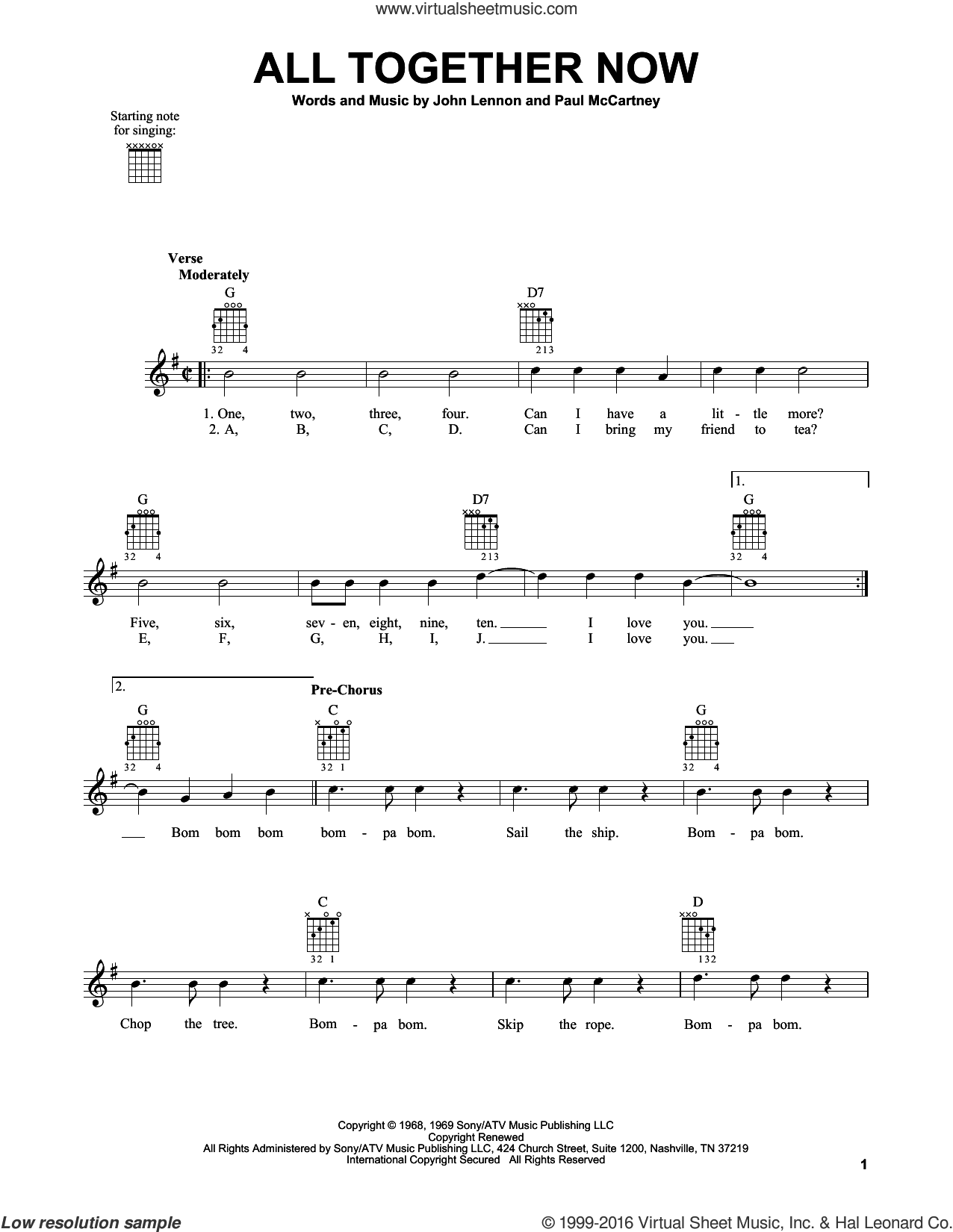 All Together Now sheet music for guitar solo (chords) by Paul McCartney, The Beatles and John Lennon. Score Image Preview.