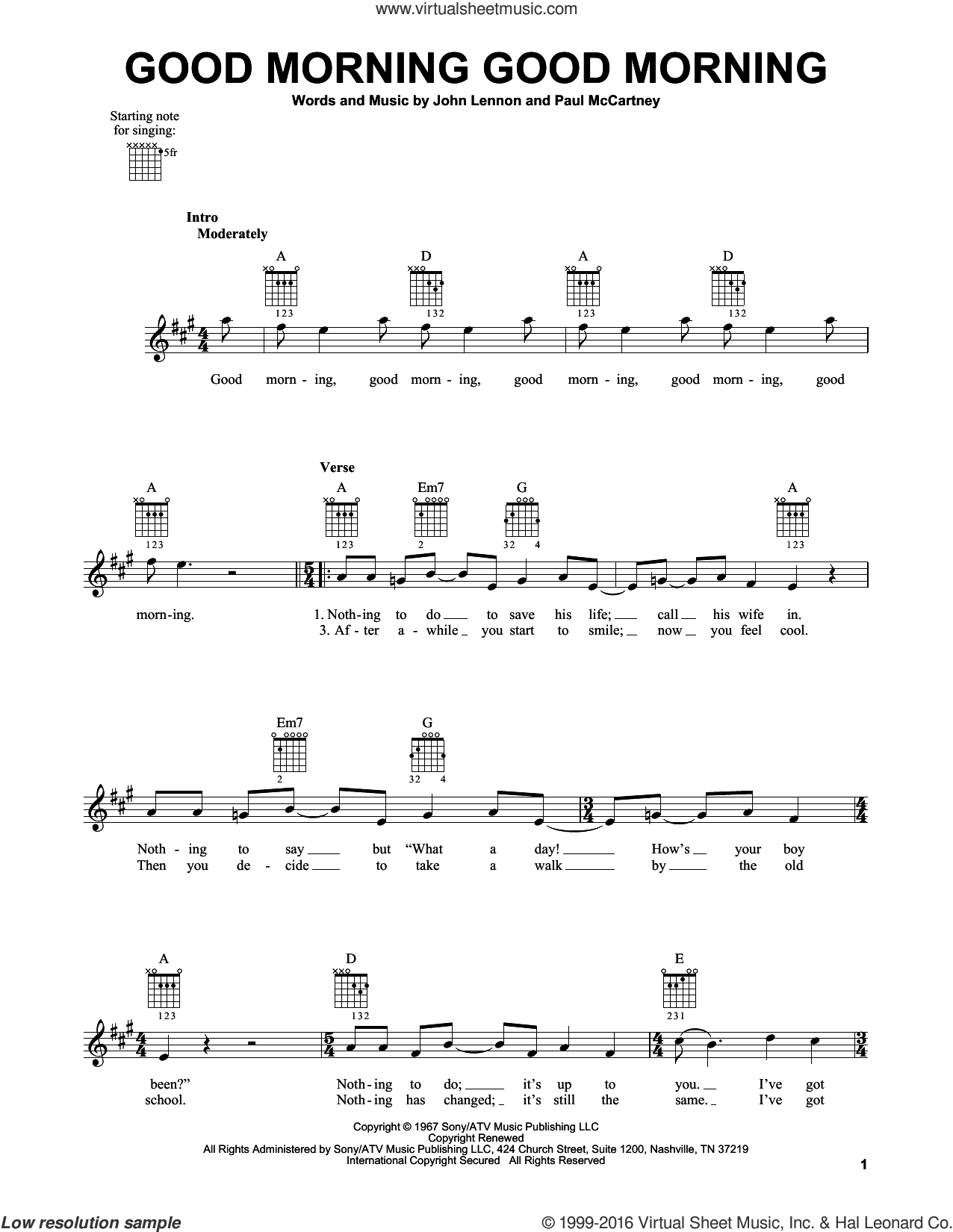 Good Morning Good Morning sheet music for guitar solo (chords) by The Beatles, John Lennon and Paul McCartney, easy guitar (chords)