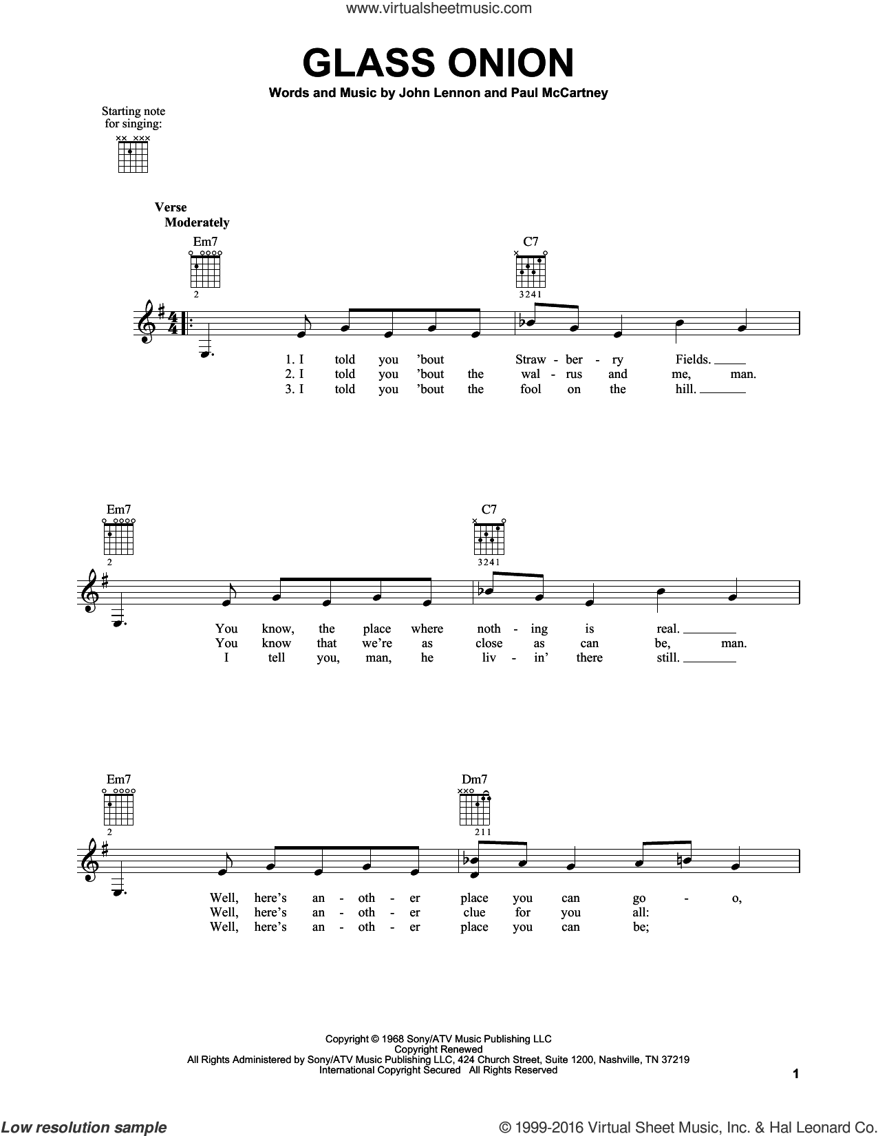 Glass Onion sheet music for guitar solo (chords) by Paul McCartney, The Beatles and John Lennon. Score Image Preview.