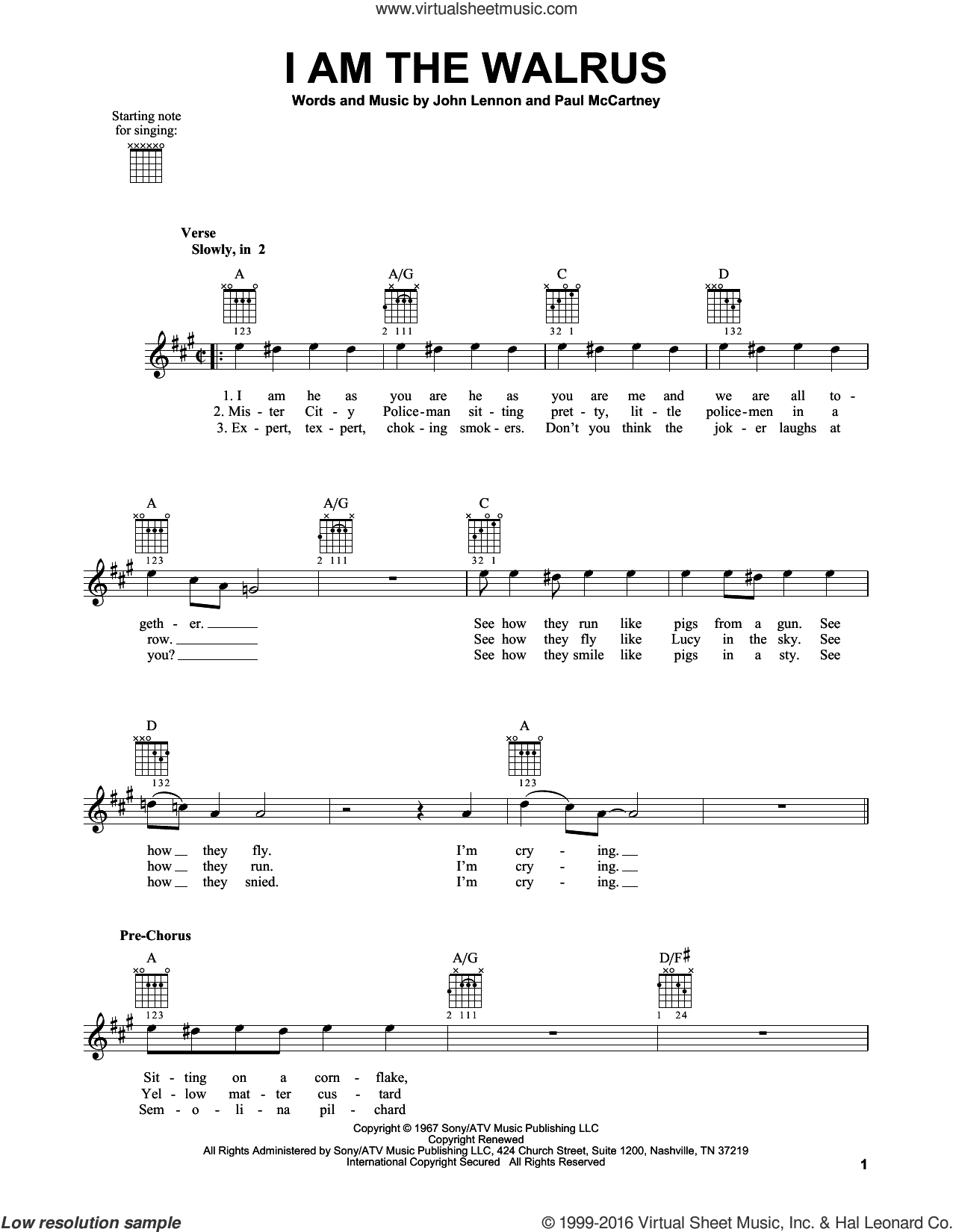 I Am The Walrus sheet music for guitar solo (chords) by Paul McCartney, The Beatles and John Lennon. Score Image Preview.