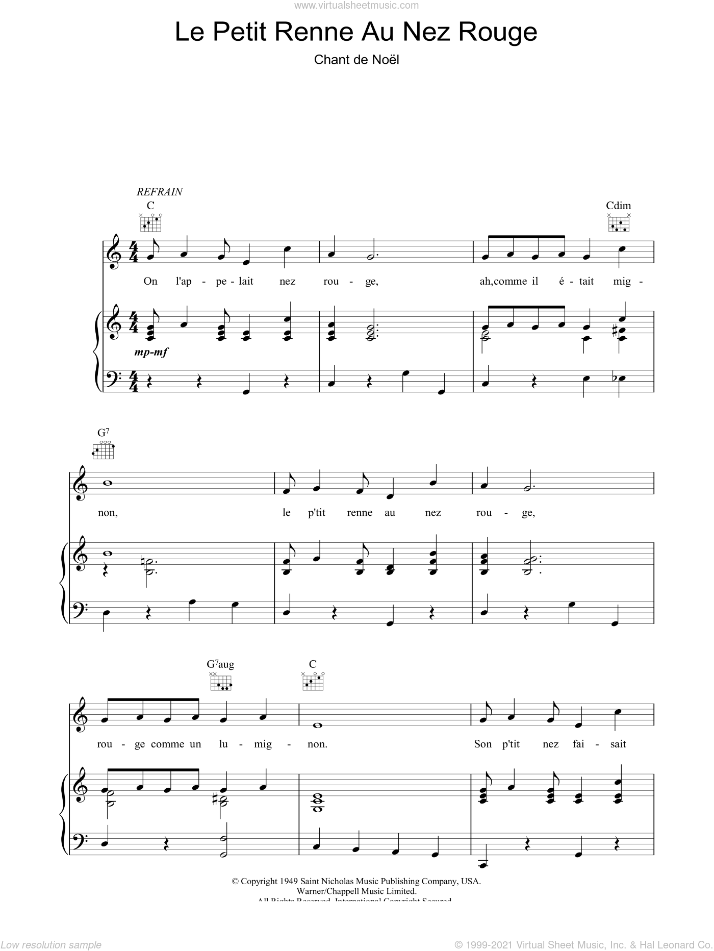 Le Petit Renne Au Nez Rouge sheet music for voice, piano or guitar, Christmas carol score, intermediate voice, piano or guitar. Score Image Preview.