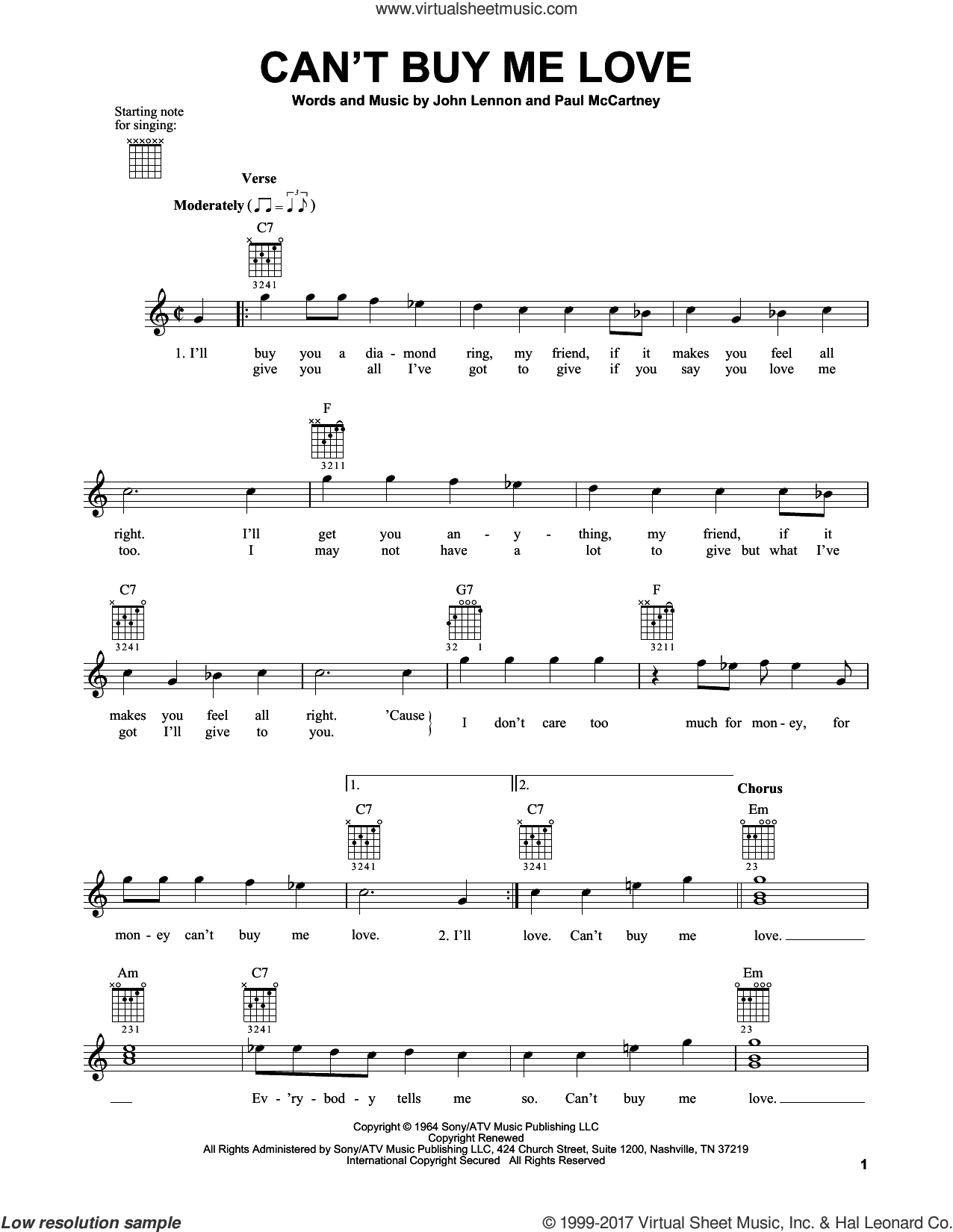 Can't Buy Me Love sheet music for guitar solo (chords) by The Beatles, John Lennon and Paul McCartney, easy guitar (chords)