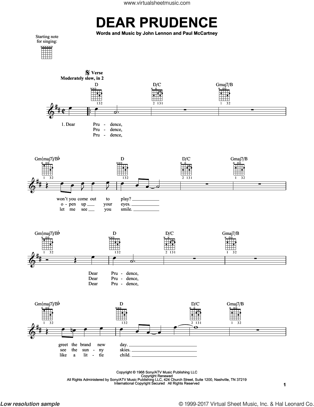 Dear Prudence sheet music for guitar solo (chords) by The Beatles, John Lennon and Paul McCartney, easy guitar (chords)