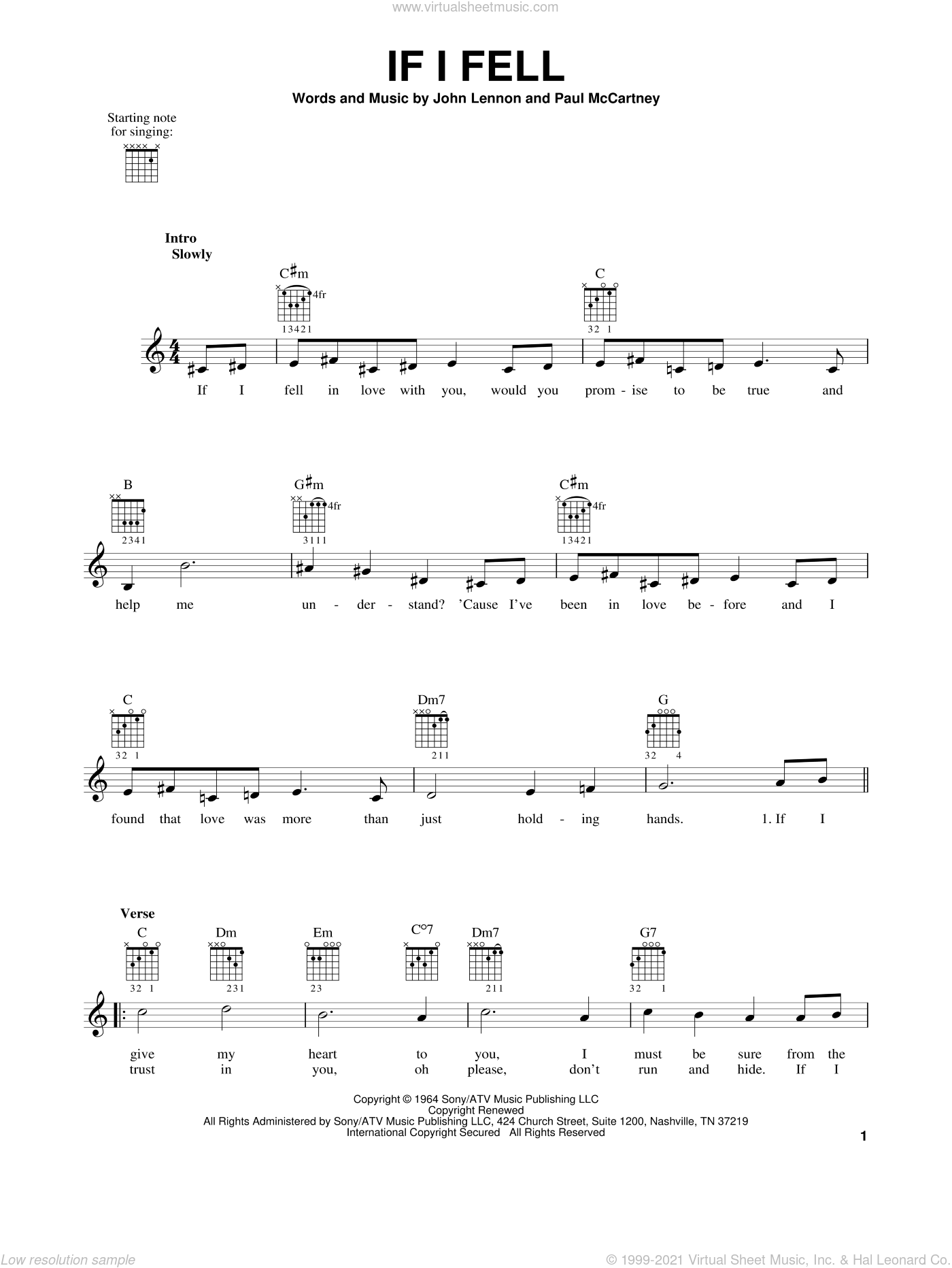 If I Fell sheet music for guitar solo (chords) by The Beatles, John Lennon and Paul McCartney, easy guitar (chords)