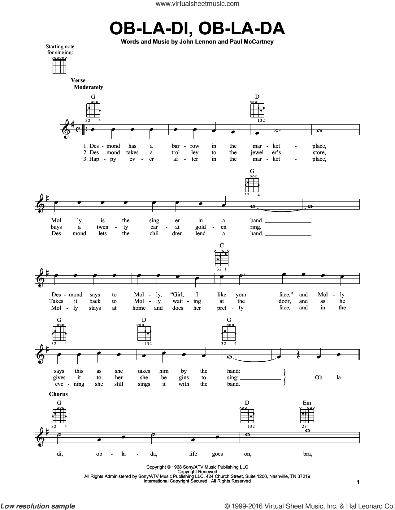 Ob-La-Di, Ob-La-Da sheet music for guitar solo (chords) by The Beatles, John Lennon and Paul McCartney, easy guitar (chords). Score Image Preview.