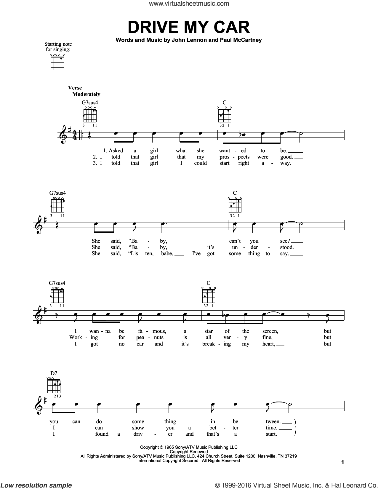 Drive My Car sheet music for guitar solo (chords) by The Beatles, John Lennon and Paul McCartney. Score Image Preview.