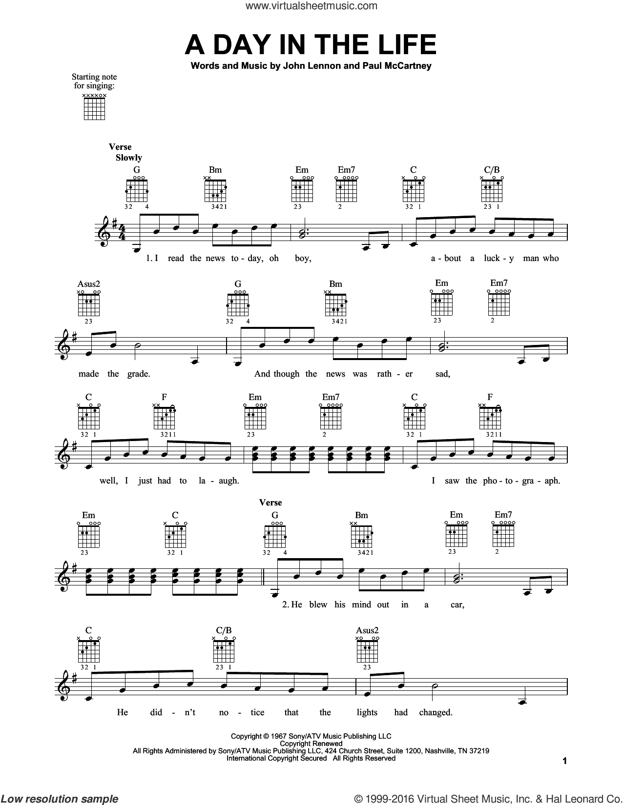 A Day In The Life sheet music for guitar solo (chords) by The Beatles, John Lennon and Paul McCartney, easy guitar (chords)