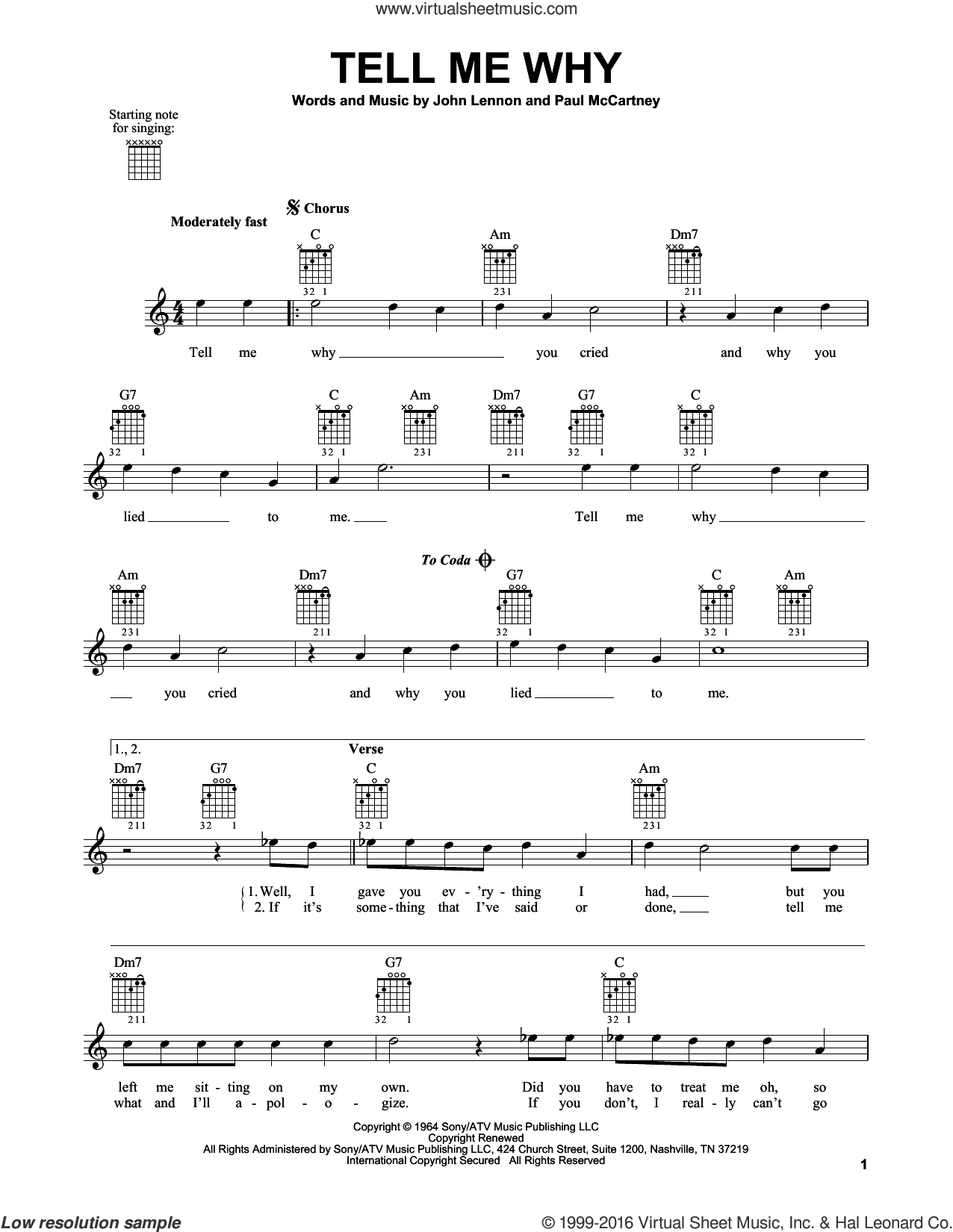 Tell Me Why sheet music for guitar solo (chords) by The Beatles, John Lennon and Paul McCartney. Score Image Preview.