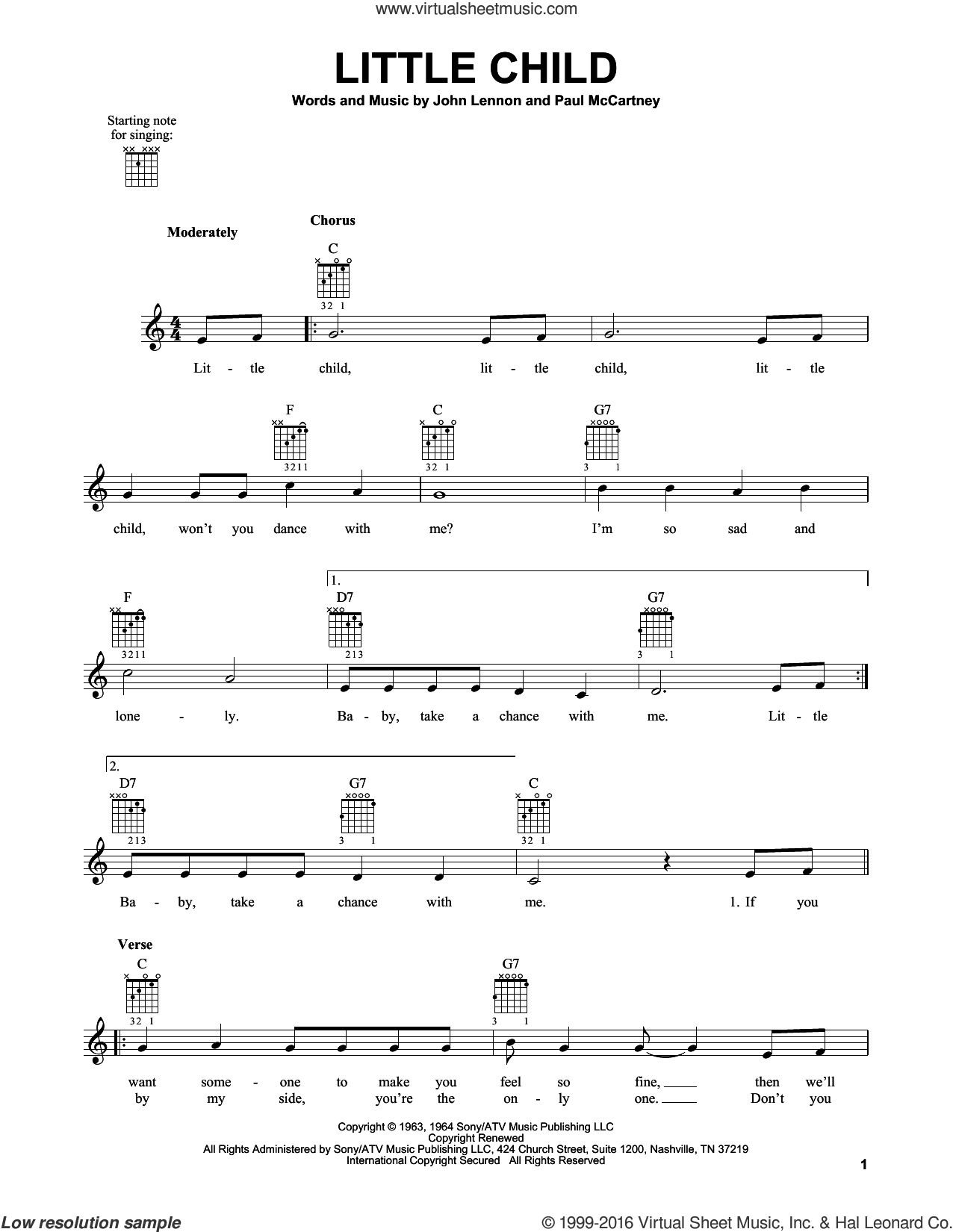 Little Child sheet music for guitar solo (chords) by The Beatles, John Lennon and Paul McCartney, easy guitar (chords)