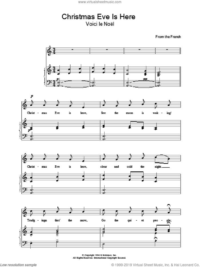 Christmas Eve Is Here sheet music for voice, piano or guitar