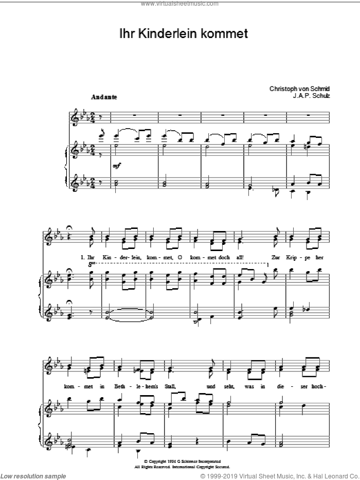 Ihr Kinderlein Kommet sheet music for voice, piano or guitar by J.A.P. Schulz and Miscellaneous. Score Image Preview.