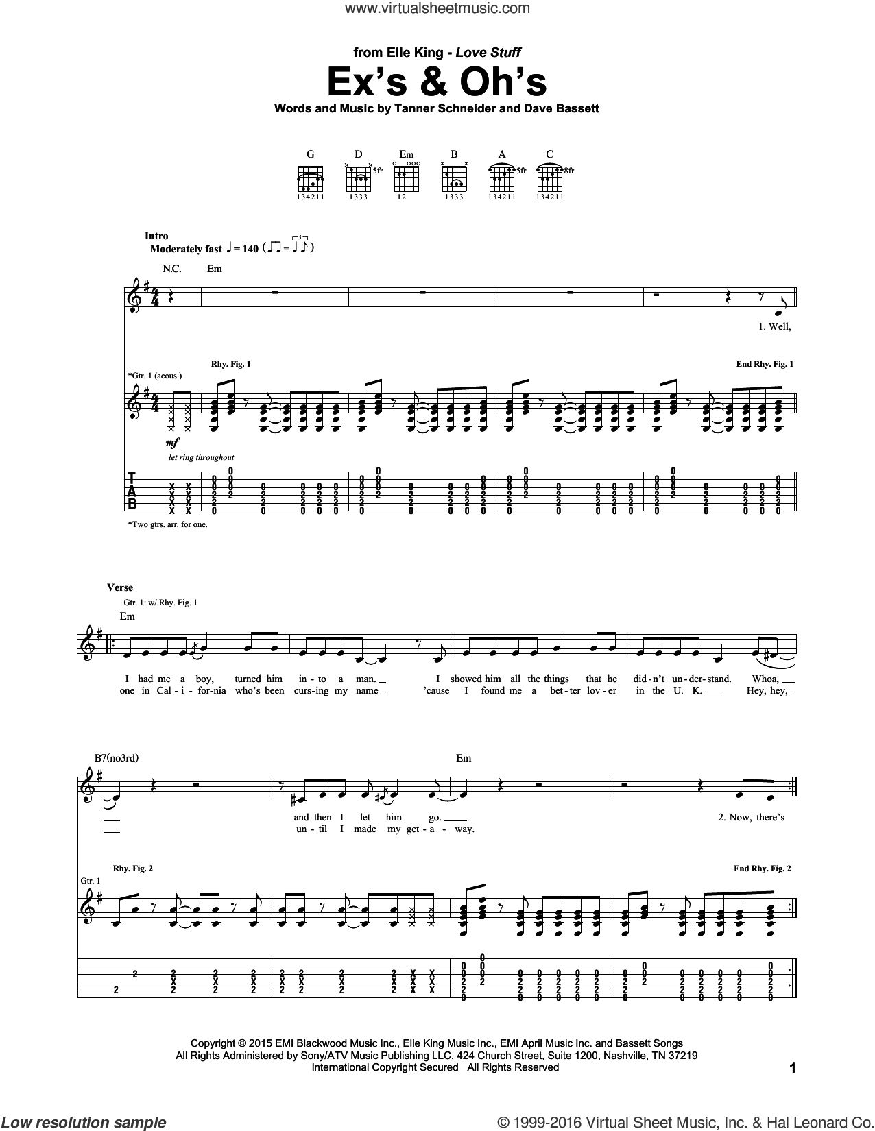 Ex's and Oh's sheet music for guitar (tablature) by Elle King and Dave Bassett. Score Image Preview.