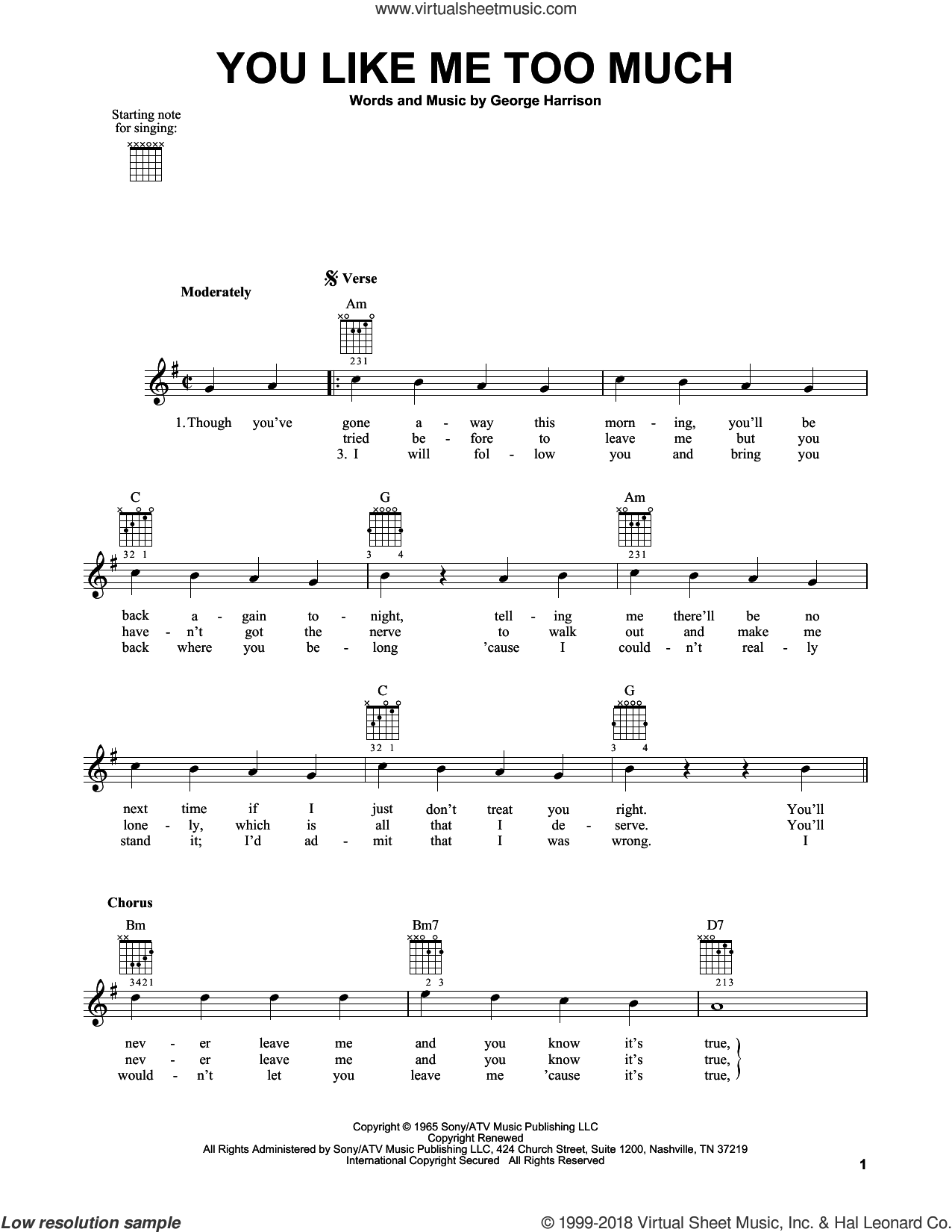 You Like Me Too Much sheet music for guitar solo (chords) by George Harrison and The Beatles. Score Image Preview.