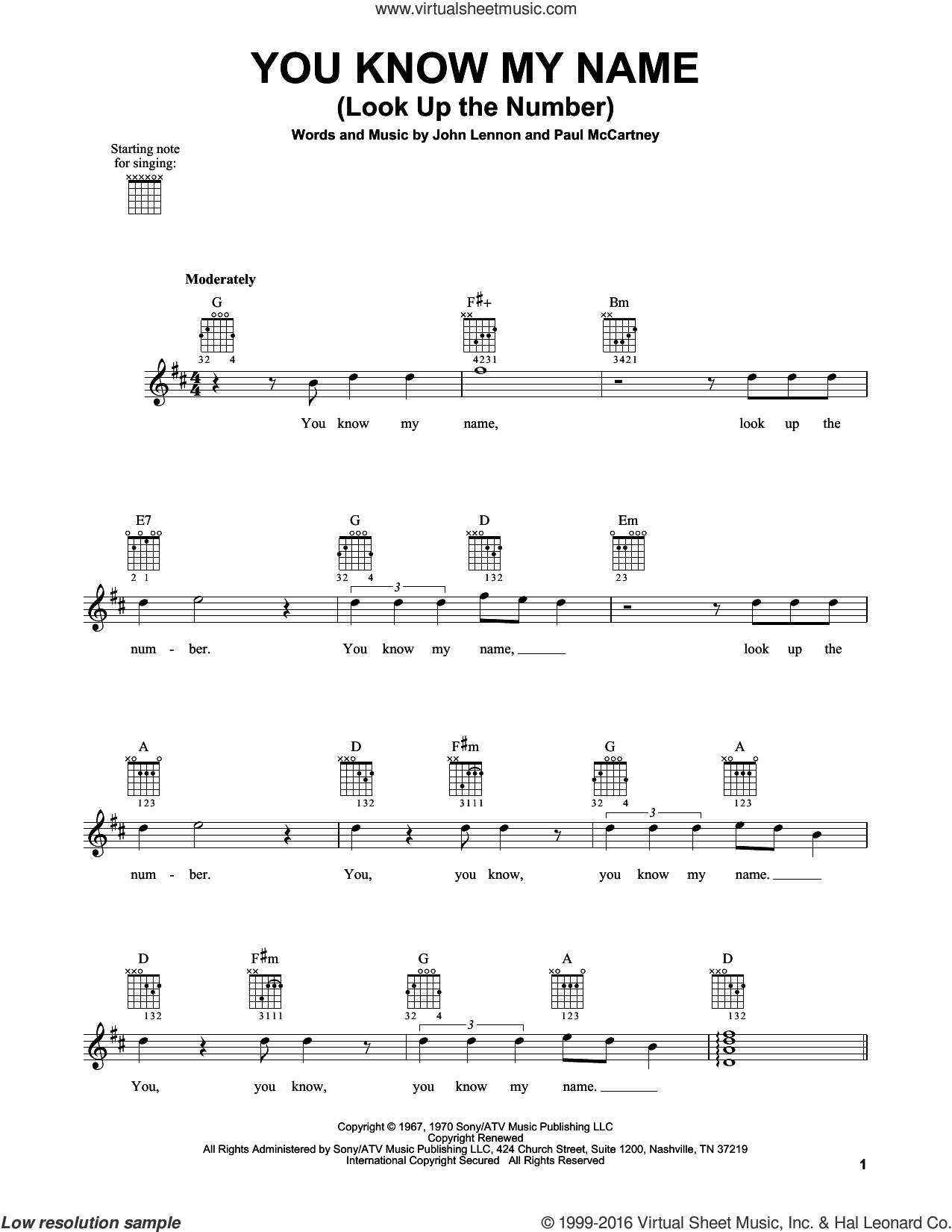 You Know My Name (Look Up The Number) sheet music for guitar solo (chords) by Paul McCartney, The Beatles and John Lennon. Score Image Preview.