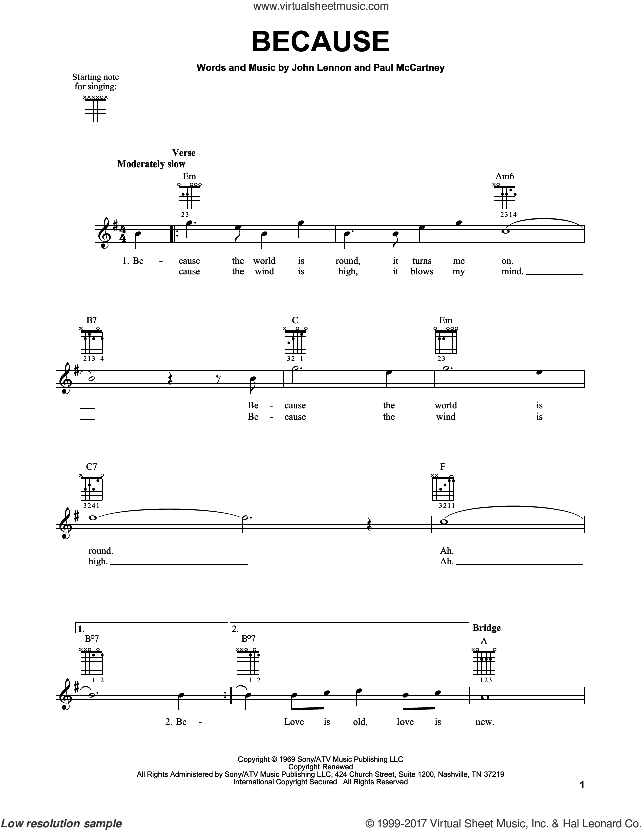 Because sheet music for guitar solo (chords) by The Beatles, John Lennon and Paul McCartney, easy guitar (chords)