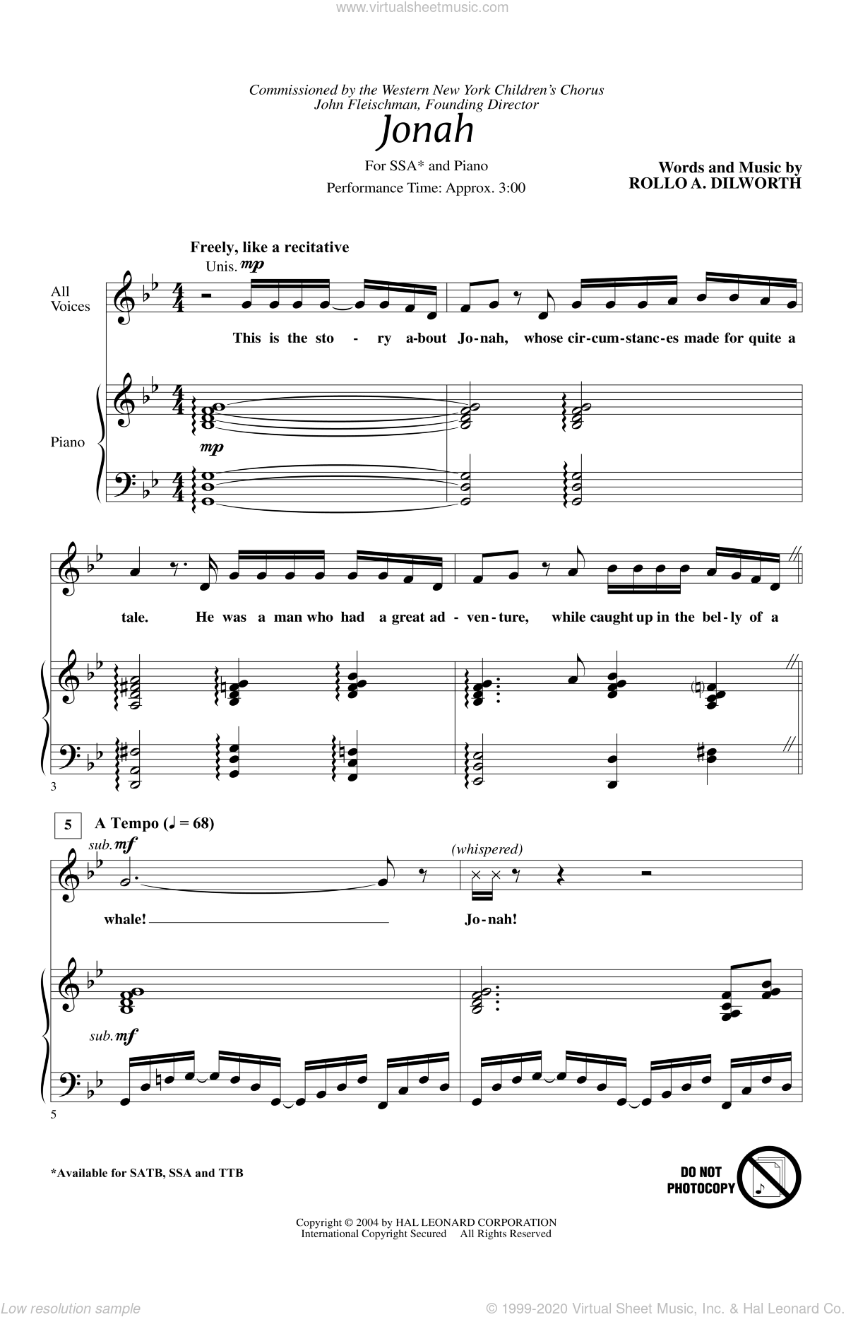 Jonah sheet music for choir (SSA: soprano, alto) by Rollo Dilworth, intermediate skill level