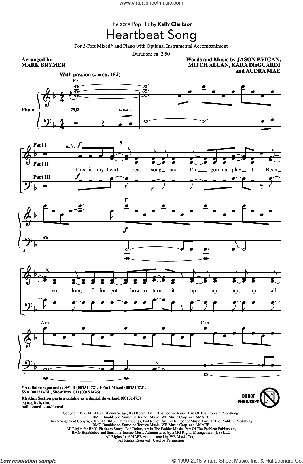 Heartbeat Song sheet music for choir (chamber ensemble) by Kara DioGuardi, Mark Brymer, Kelly Clarkson, Audra Mae, Jason Evigan and Mitch Allan. Score Image Preview.