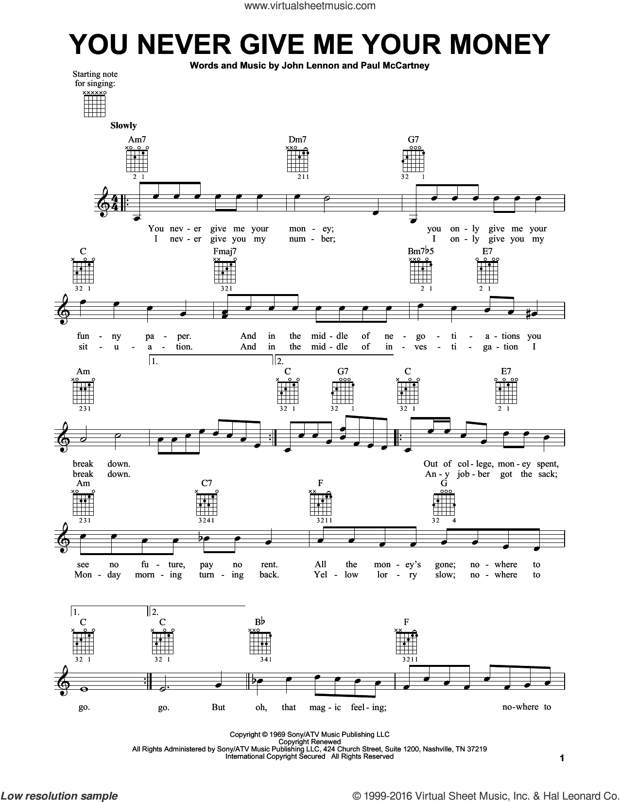 You Never Give Me Your Money sheet music for guitar solo (chords) by The Beatles, John Lennon and Paul McCartney, easy guitar (chords). Score Image Preview.