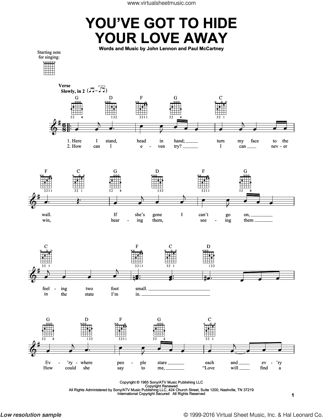 You've Got To Hide Your Love Away sheet music for guitar solo (chords) by The Beatles, John Lennon and Paul McCartney, easy guitar (chords)
