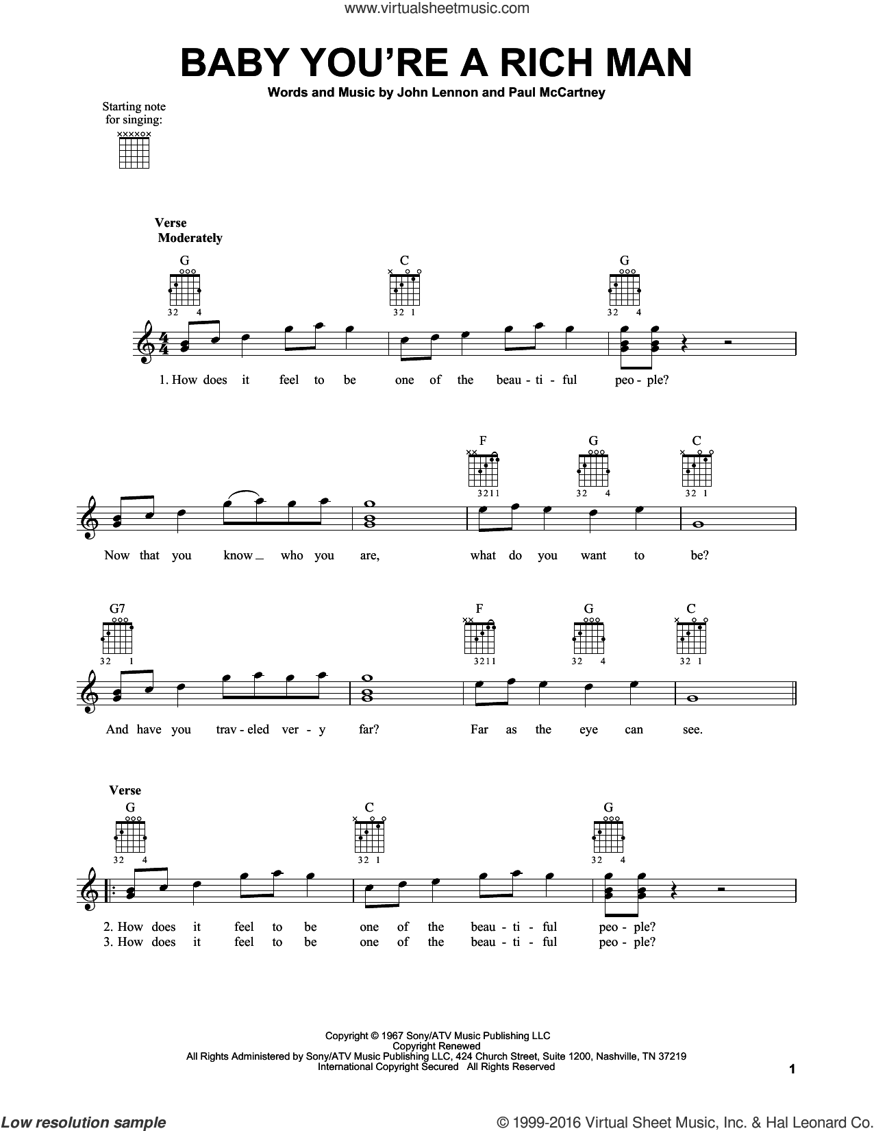 Baby You're A Rich Man sheet music for guitar solo (chords) by The Beatles, John Lennon and Paul McCartney, easy guitar (chords). Score Image Preview.