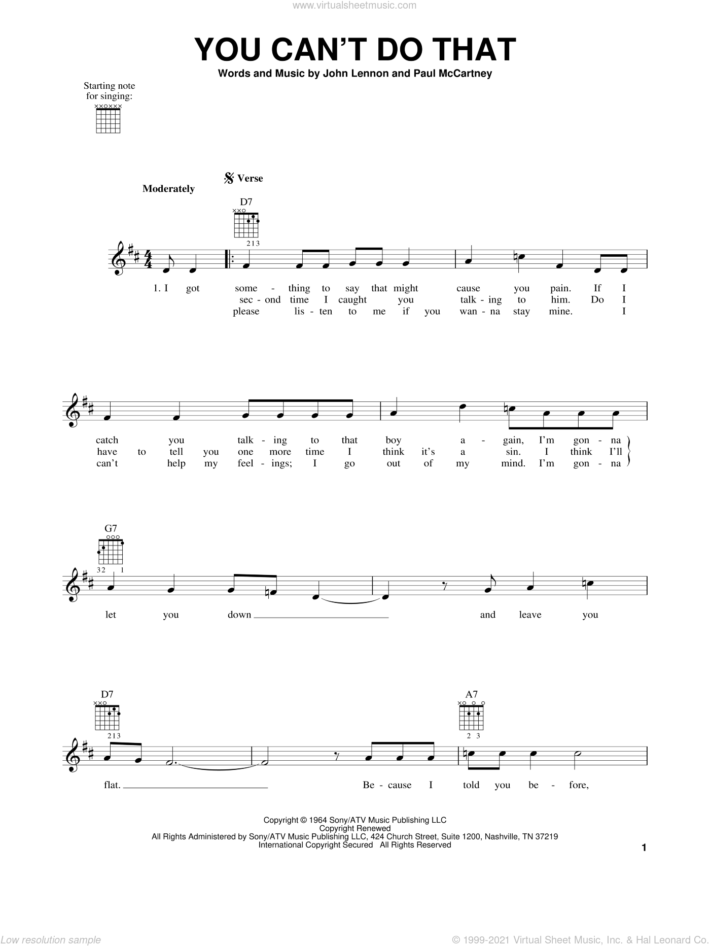 You Can't Do That sheet music for guitar solo (chords) by The Beatles, John Lennon and Paul McCartney. Score Image Preview.