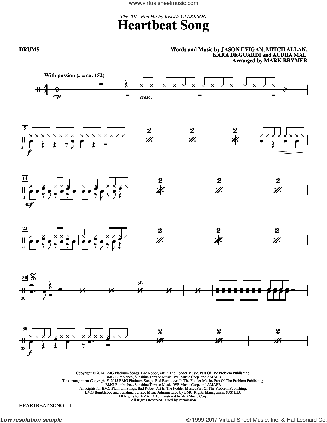 Heartbeat Song (arr. Mark Brymer) (complete set of parts) sheet music for orchestra/band by Mark Brymer, Audra Mae, Jason Evigan, Kara DioGuardi, Kelly Clarkson and Mitch Allan, intermediate skill level