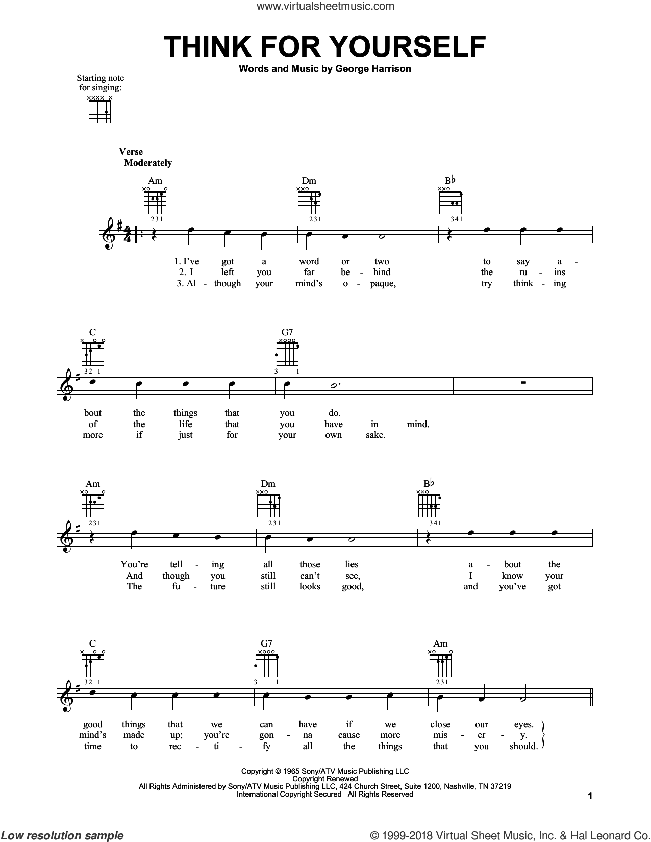 Think For Yourself sheet music for guitar solo (chords) by George Harrison and The Beatles. Score Image Preview.