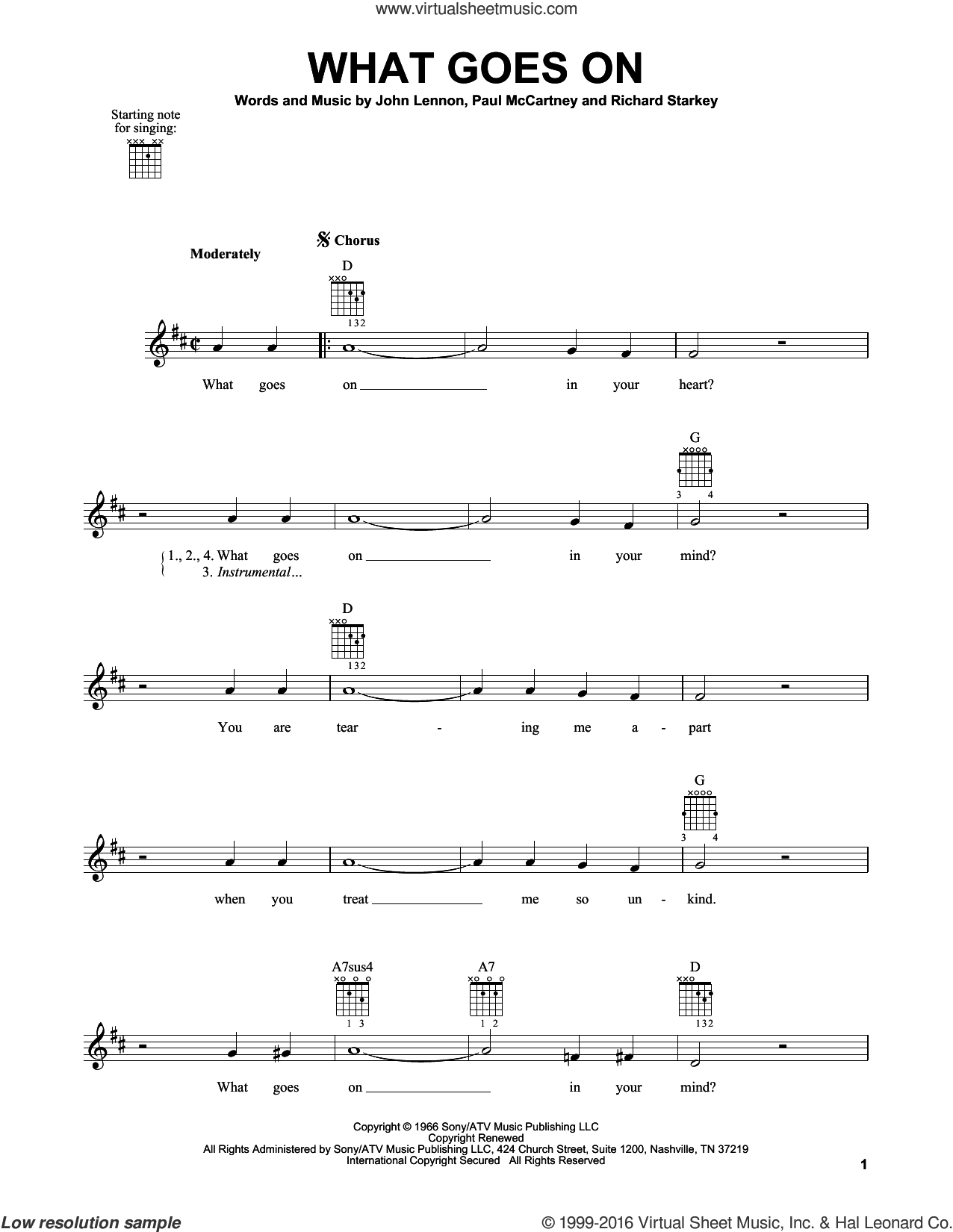 What Goes On sheet music for guitar solo (chords) by The Beatles, John Lennon and Paul McCartney, easy guitar (chords). Score Image Preview.