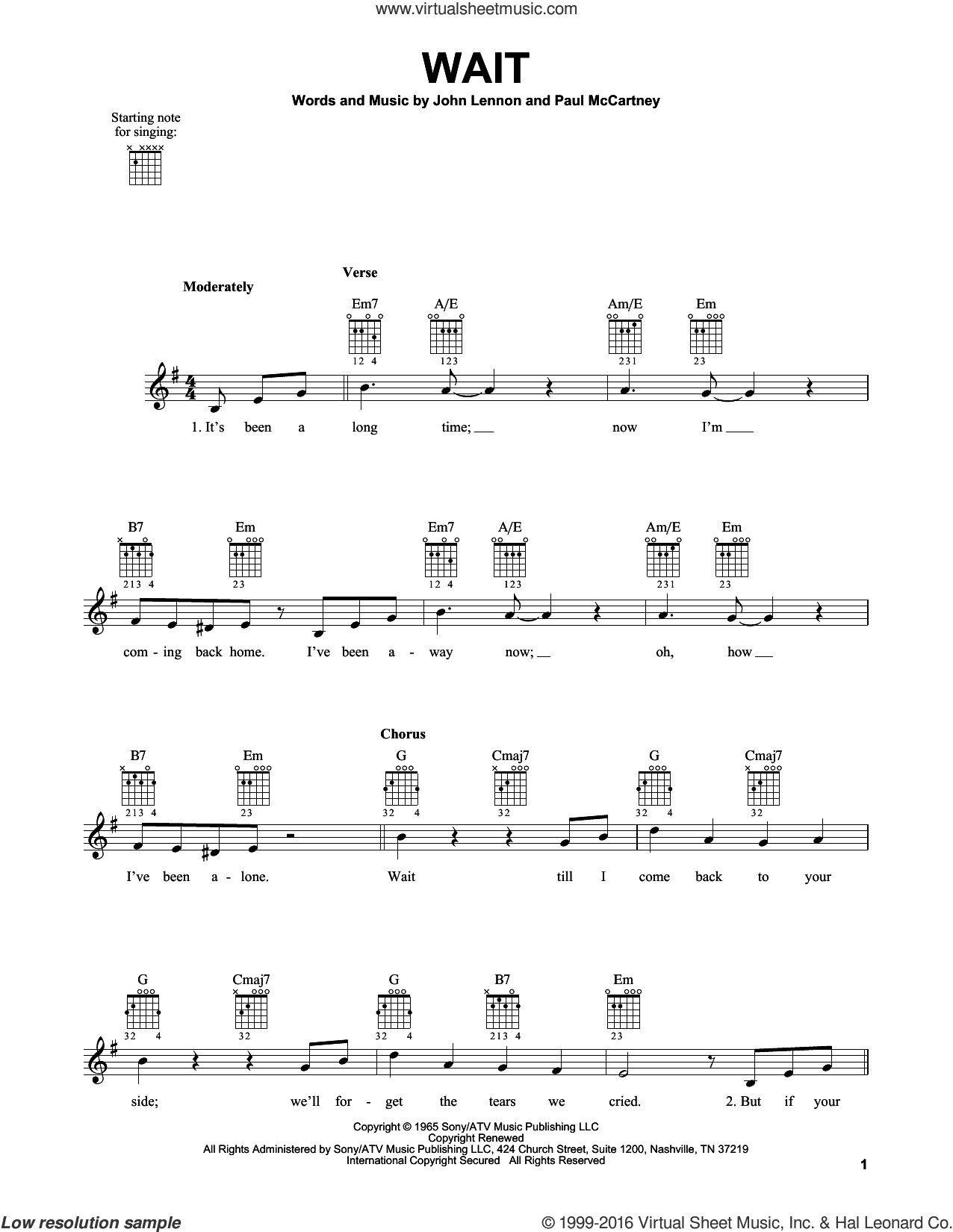 Wait sheet music for guitar solo (chords) by The Beatles, John Lennon and Paul McCartney, easy guitar (chords)