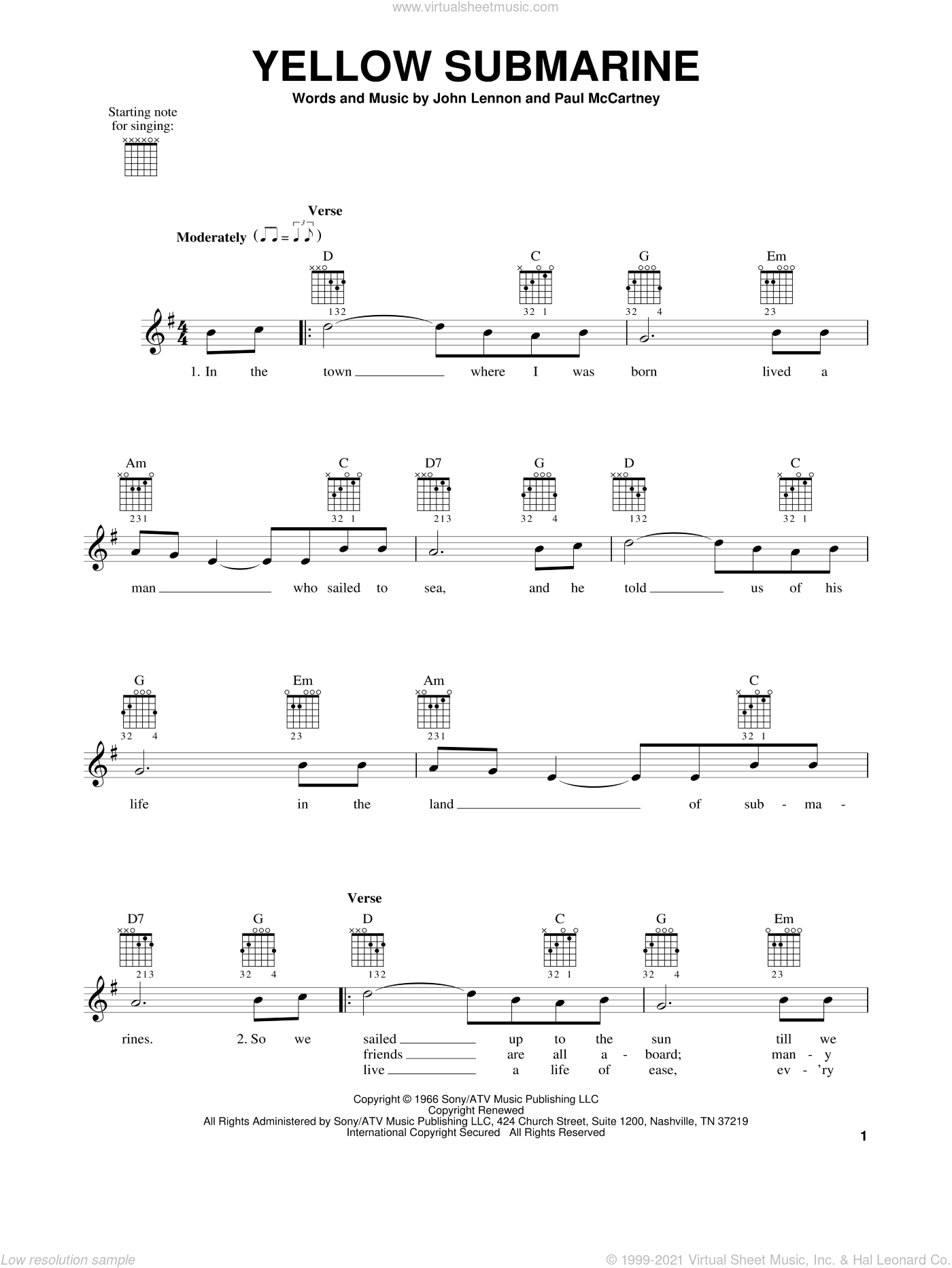 Yellow Submarine sheet music for guitar solo (chords) by The Beatles, John Lennon and Paul McCartney, easy guitar (chords). Score Image Preview.