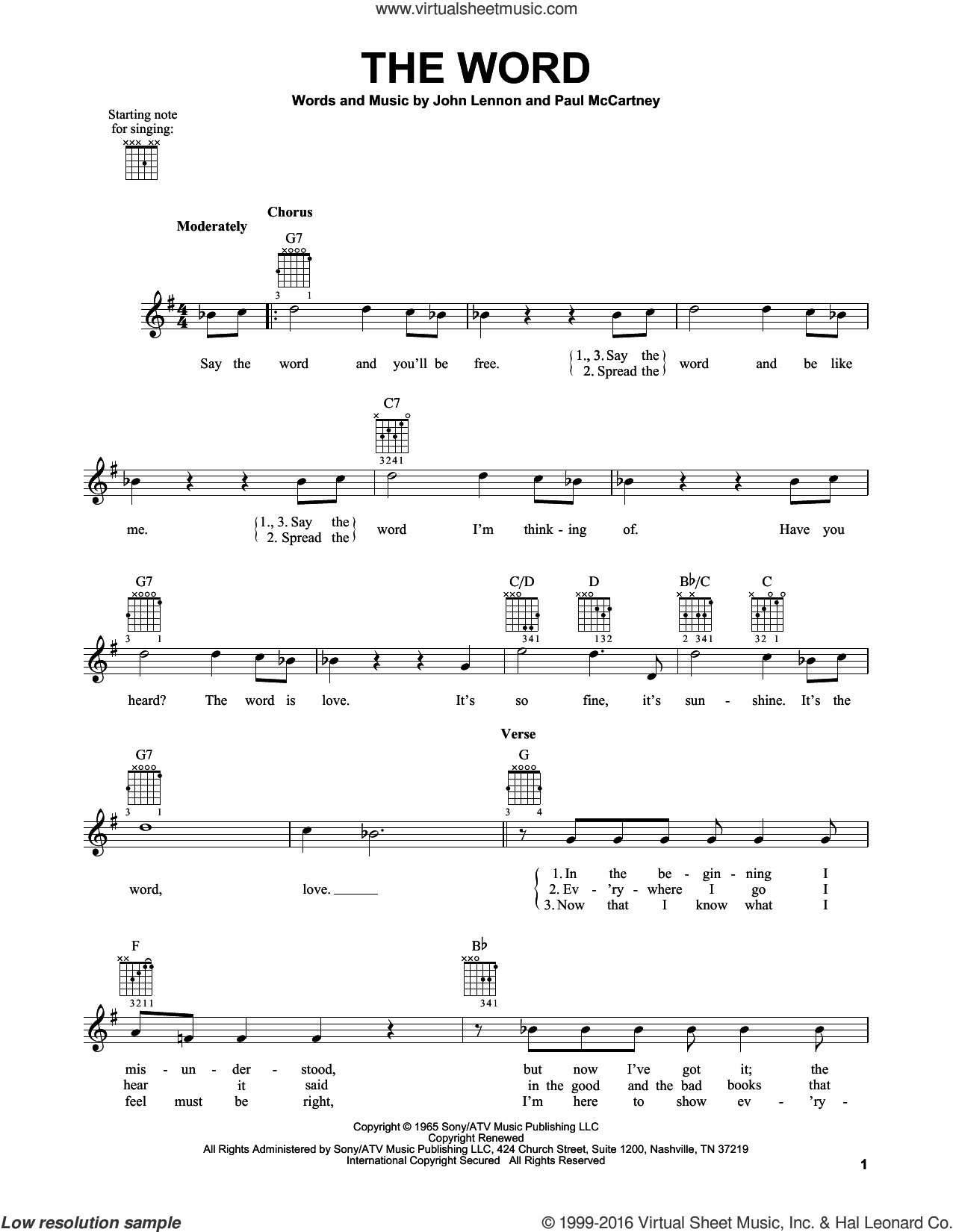 The Word sheet music for guitar solo (chords) by The Beatles, John Lennon and Paul McCartney, easy guitar (chords)