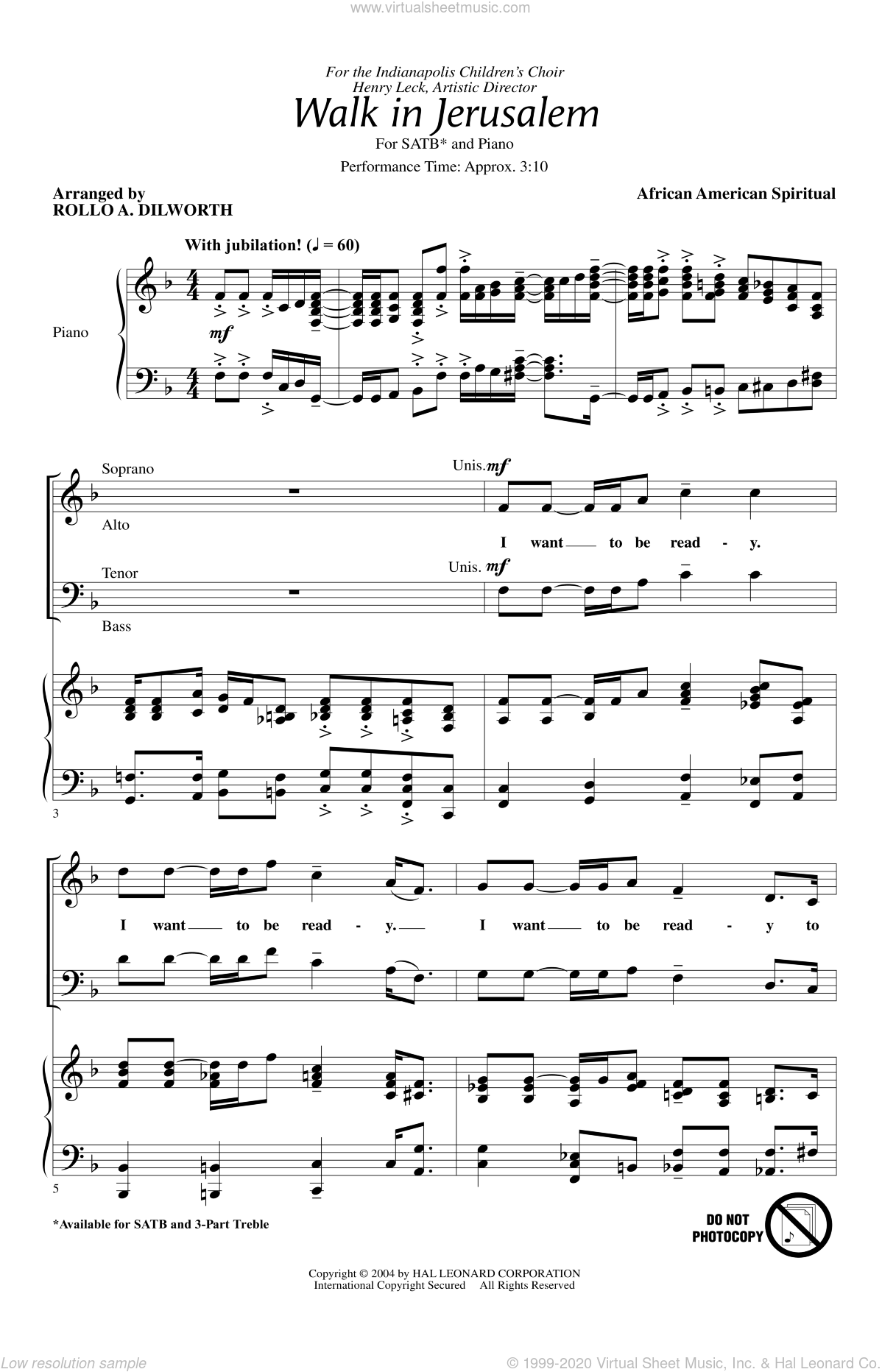 Walk In Jerusalem, Just Like John sheet music for choir (SATB) by Rollo Dilworth. Score Image Preview.