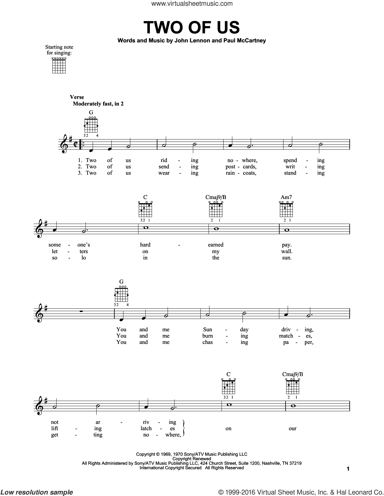 Two Of Us sheet music for guitar solo (chords) by The Beatles, John Lennon and Paul McCartney, easy guitar (chords)
