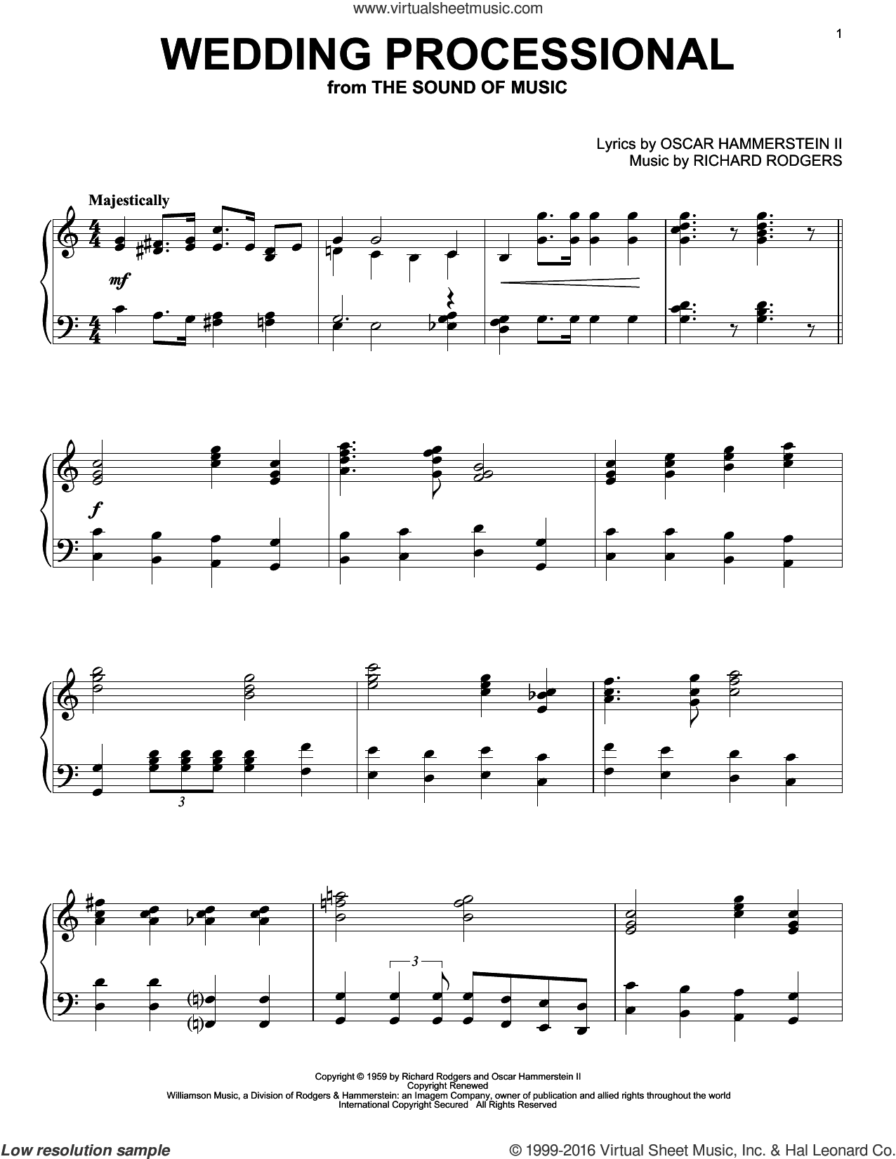 Wedding Processional sheet music for piano solo by Richard Rodgers, Rodgers & Hammerstein, The Sound Of Music (Musical) and Oscar II Hammerstein. Score Image Preview.