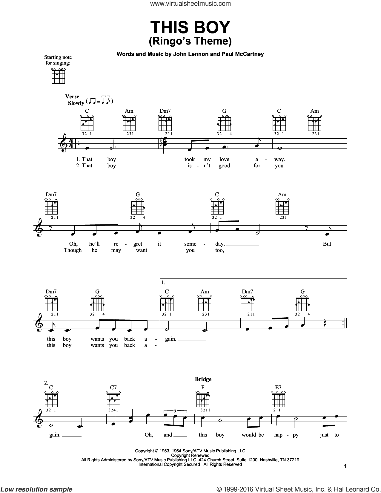 This Boy (Ringo's Theme) sheet music for guitar solo (chords) by Paul McCartney, The Beatles and John Lennon. Score Image Preview.