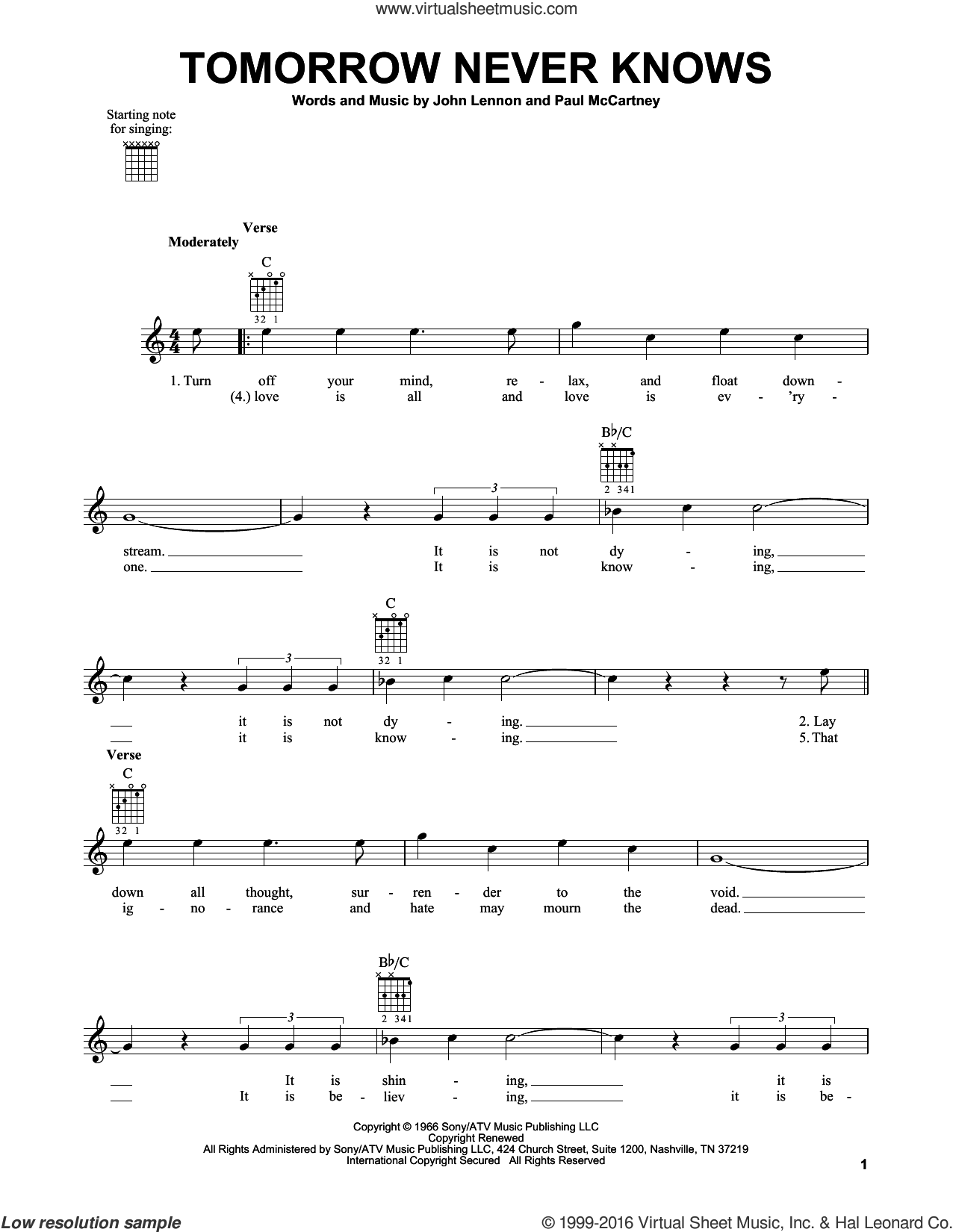 Tomorrow Never Knows sheet music for guitar solo (chords) by The Beatles, John Lennon and Paul McCartney, easy guitar (chords)