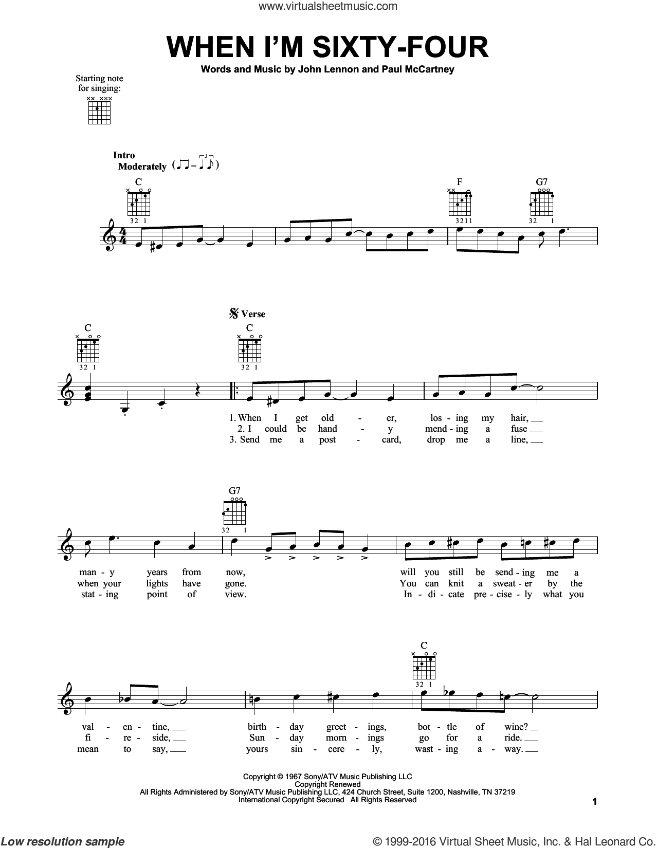 When I'm Sixty-Four sheet music for guitar solo (chords) by The Beatles, John Lennon and Paul McCartney, easy guitar (chords)